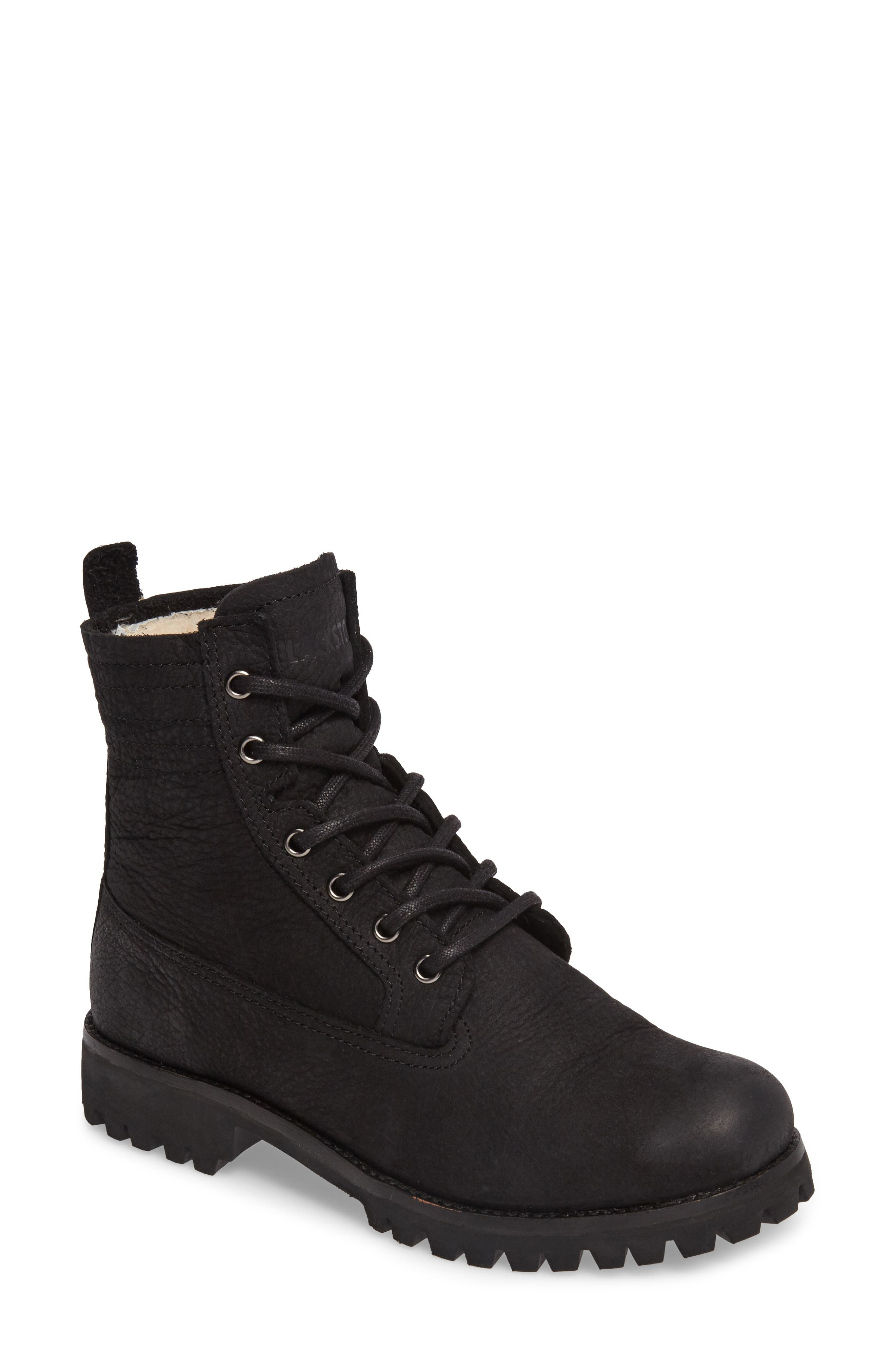 OL22 Lace-Up Boot with Genuine Shearling Lining,                         Main,                         color, Black Leather