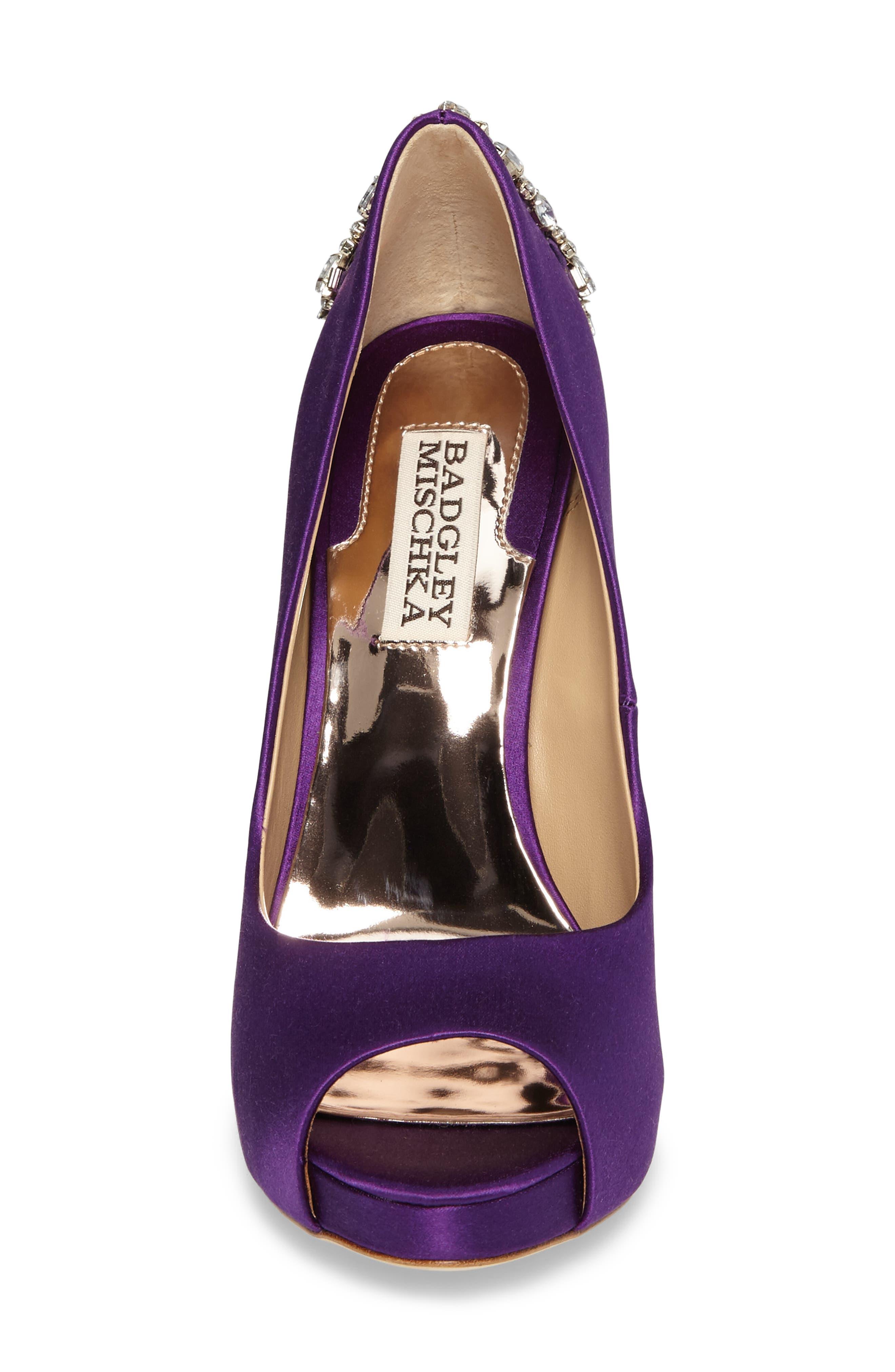 'Kiara' Crystal Back Open Toe Pump,                             Alternate thumbnail 4, color,                             Purple Satin