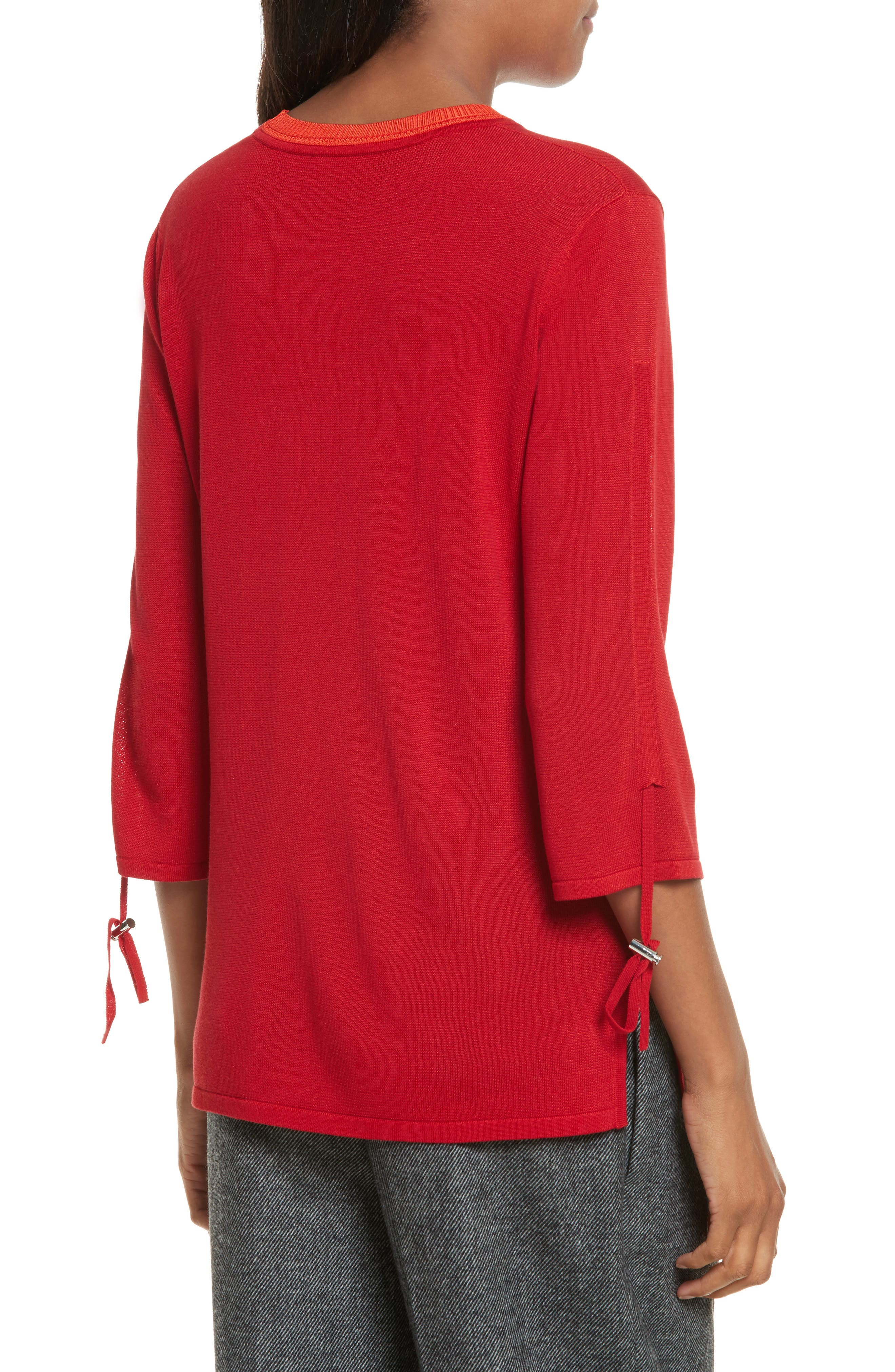 Ruched Sleeve Sweater,                             Alternate thumbnail 3, color,                             Cherry
