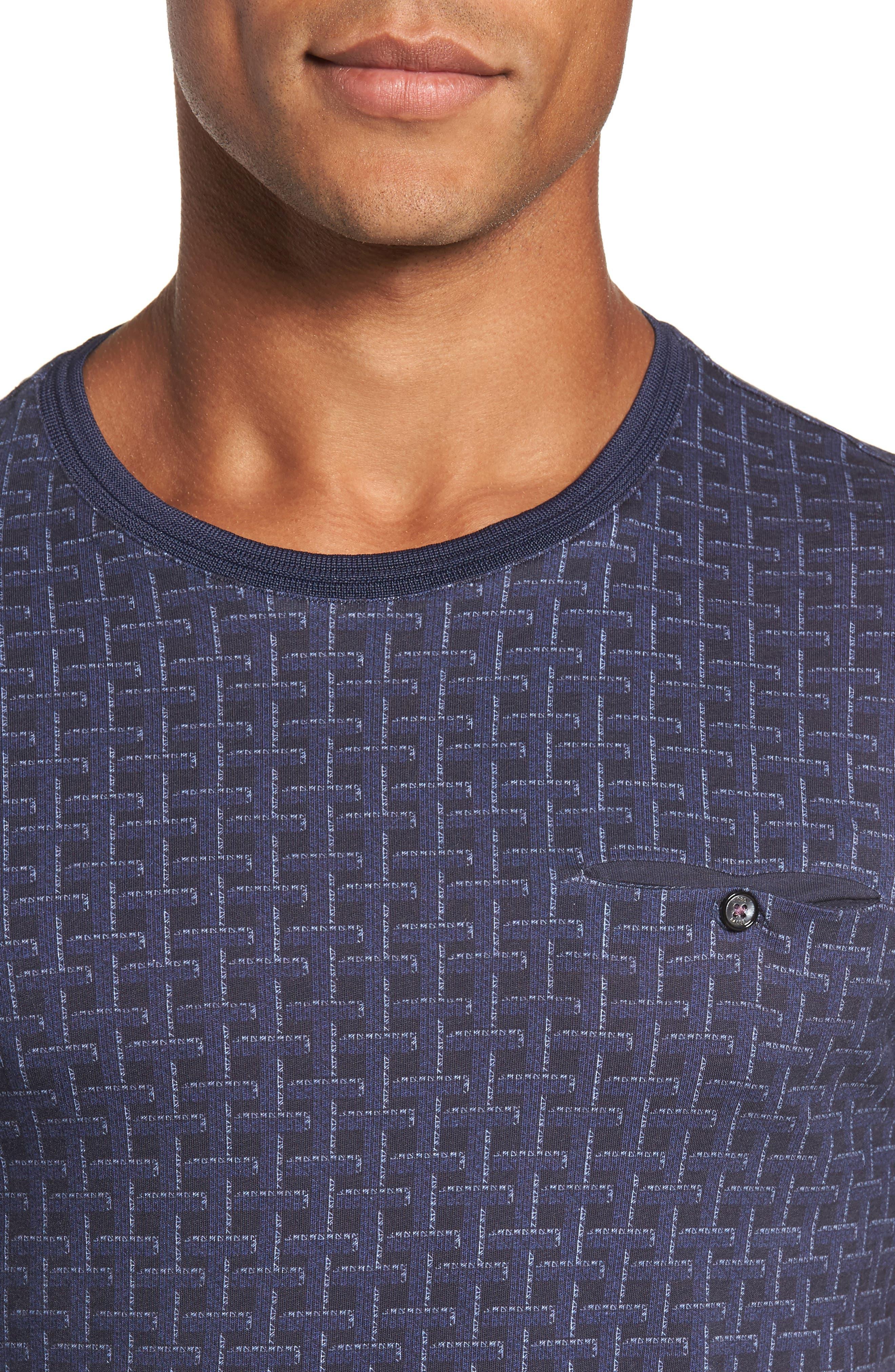 Hillman Print Pocket T-Shirt,                             Alternate thumbnail 4, color,                             Mid Blue