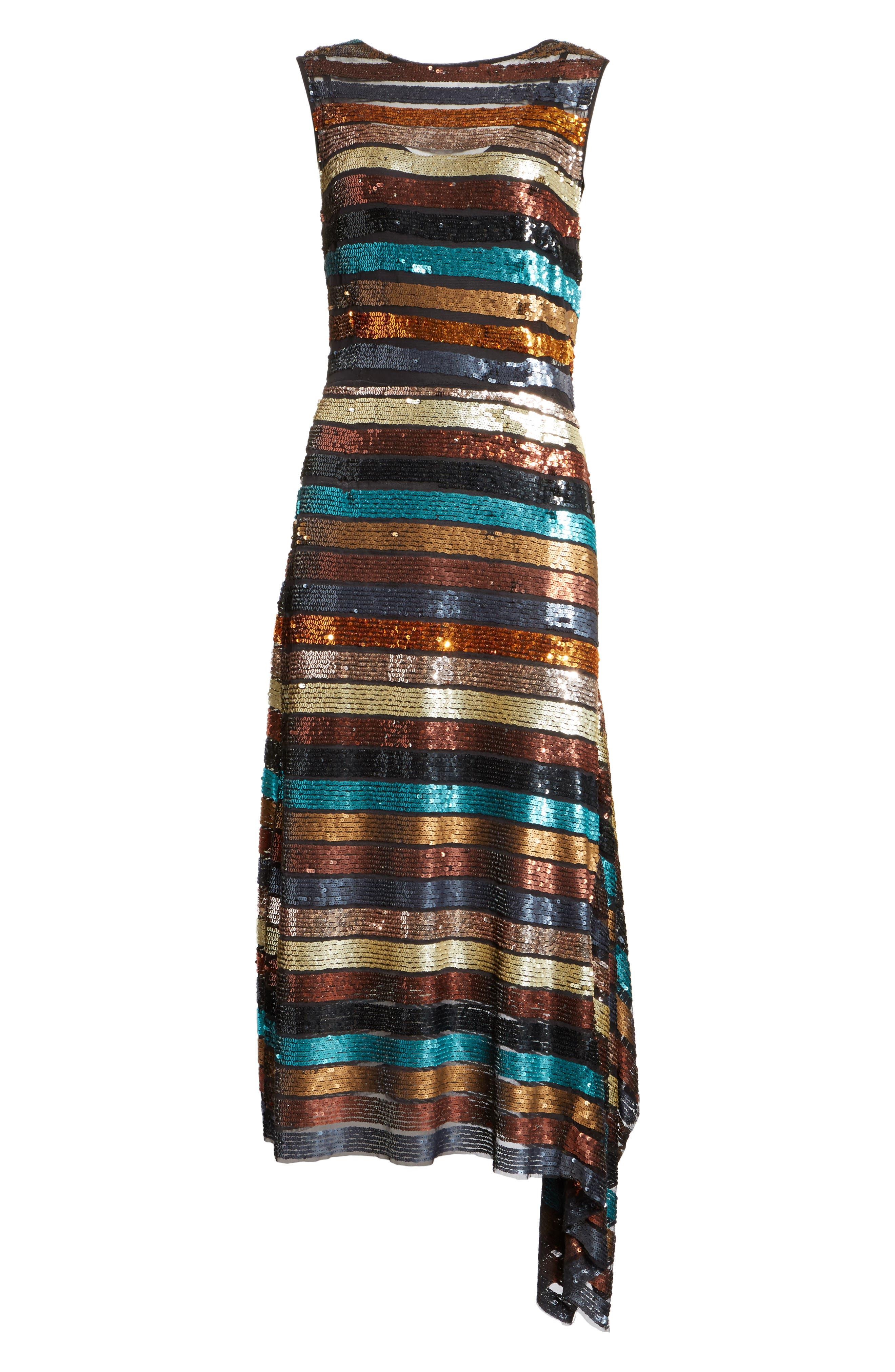 Flange Midi Dress,                             Alternate thumbnail 6, color,                             Multi