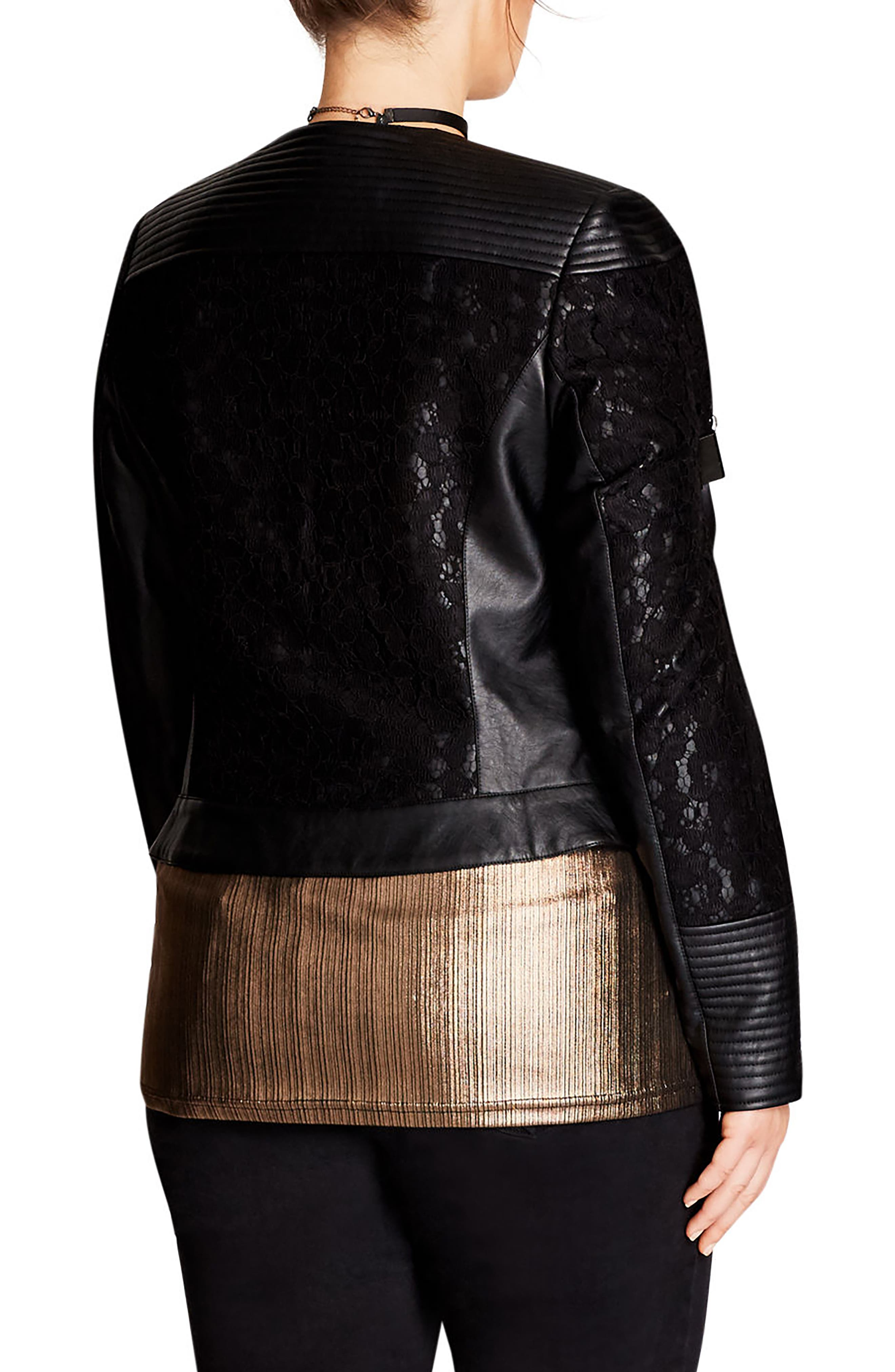 Alternate Image 2  - City Chic Wild Heart Faux Leather Jacket (Plus Size)