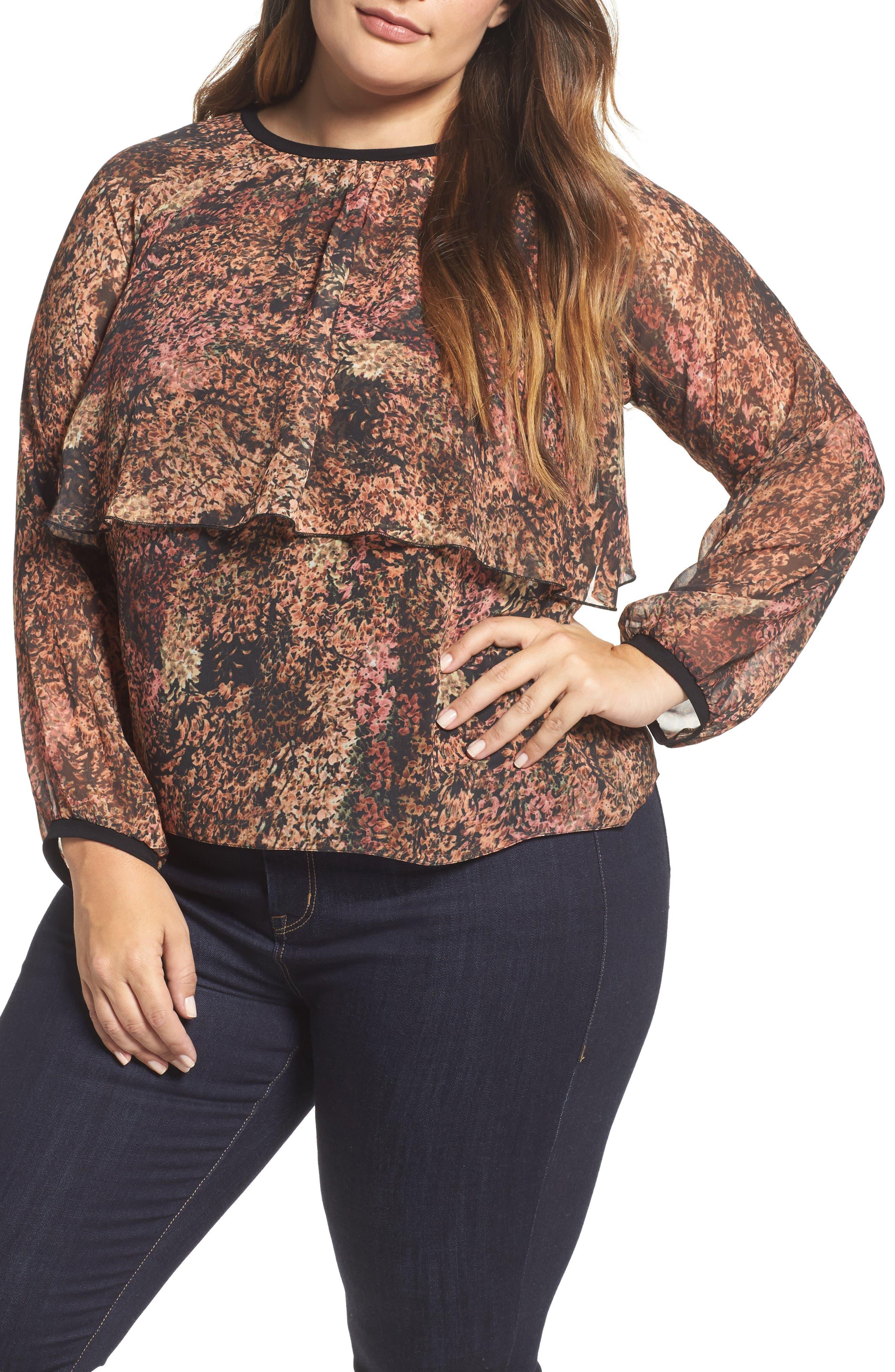Main Image - ELVI Floral Popover Drape Top (Plus Size)