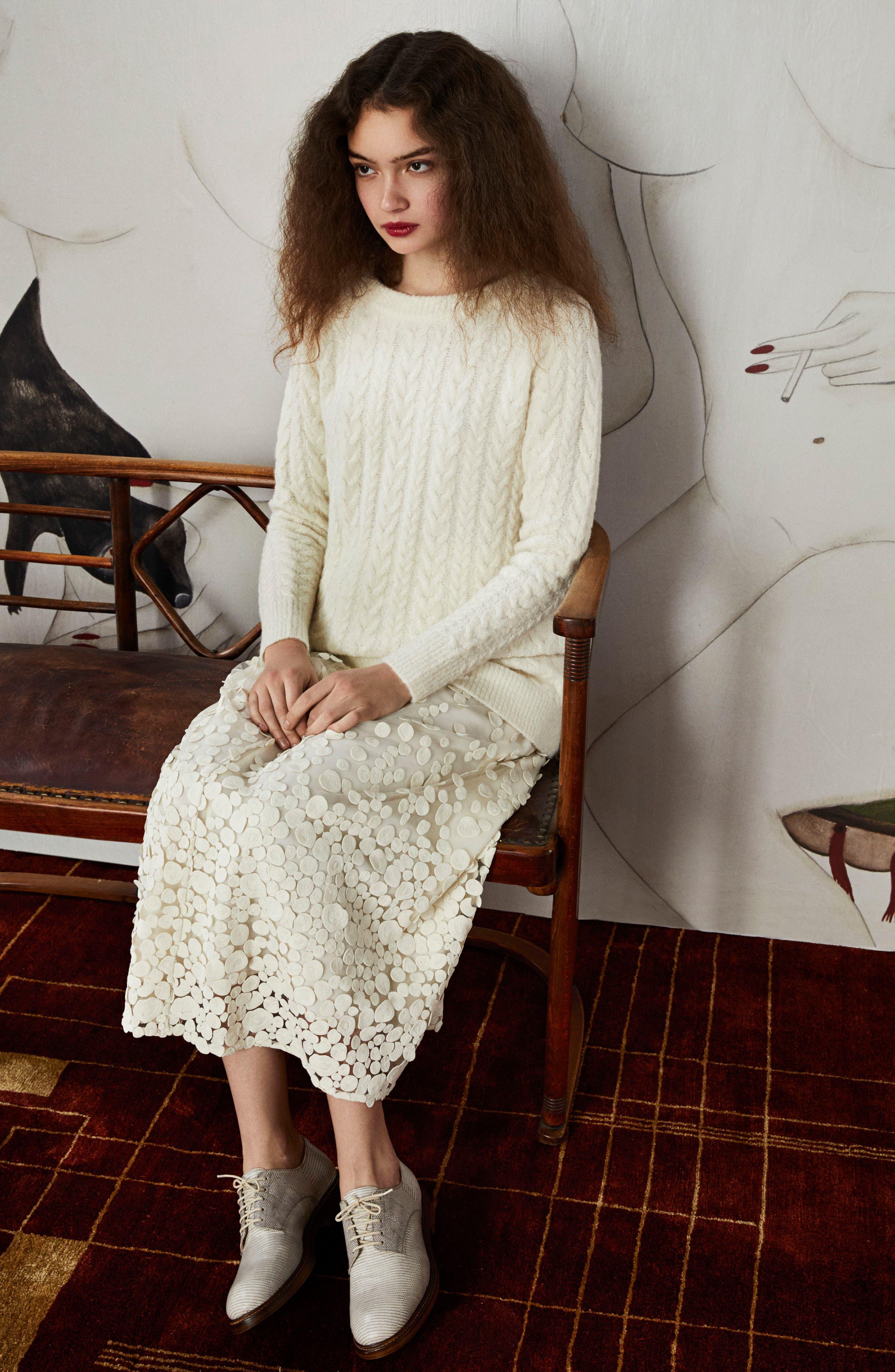 Alternate Image 2  - Co Pebbles Embroidered Mesh Midi Skirt