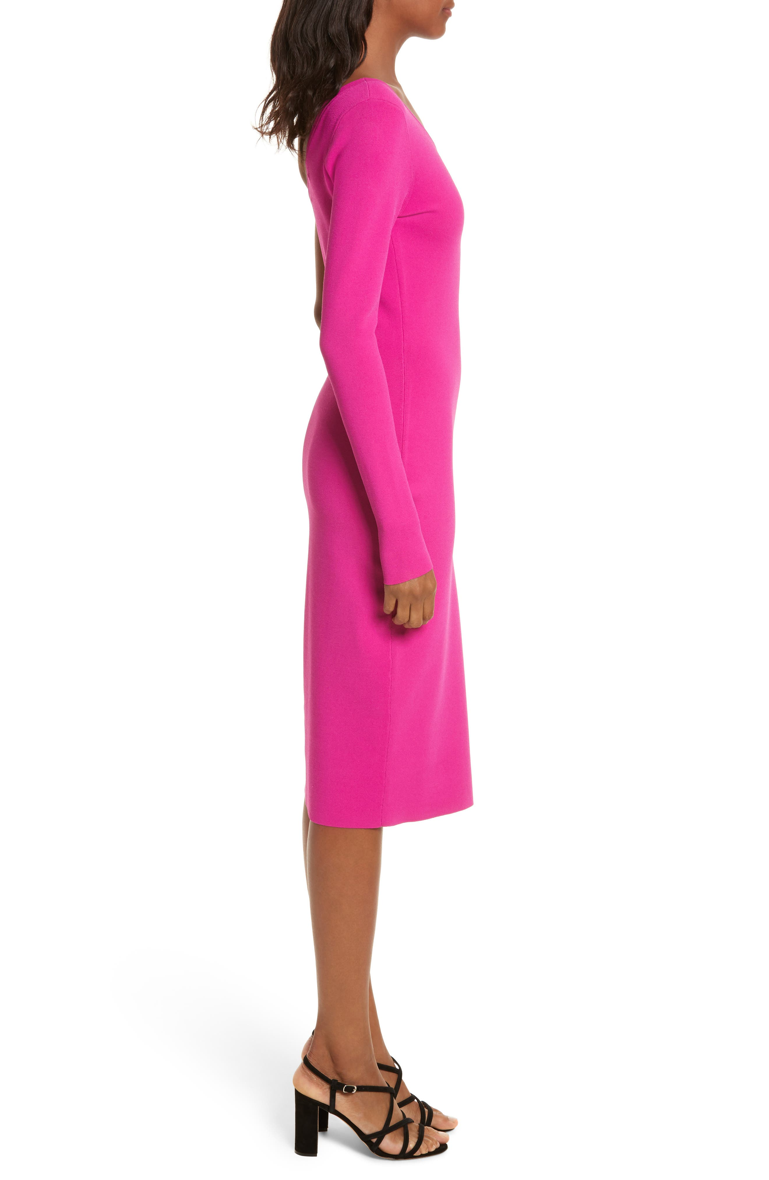 Diane von Furstenberg Knit One-Shoulder Midi Dress,                             Alternate thumbnail 3, color,                             Ribbon Pink