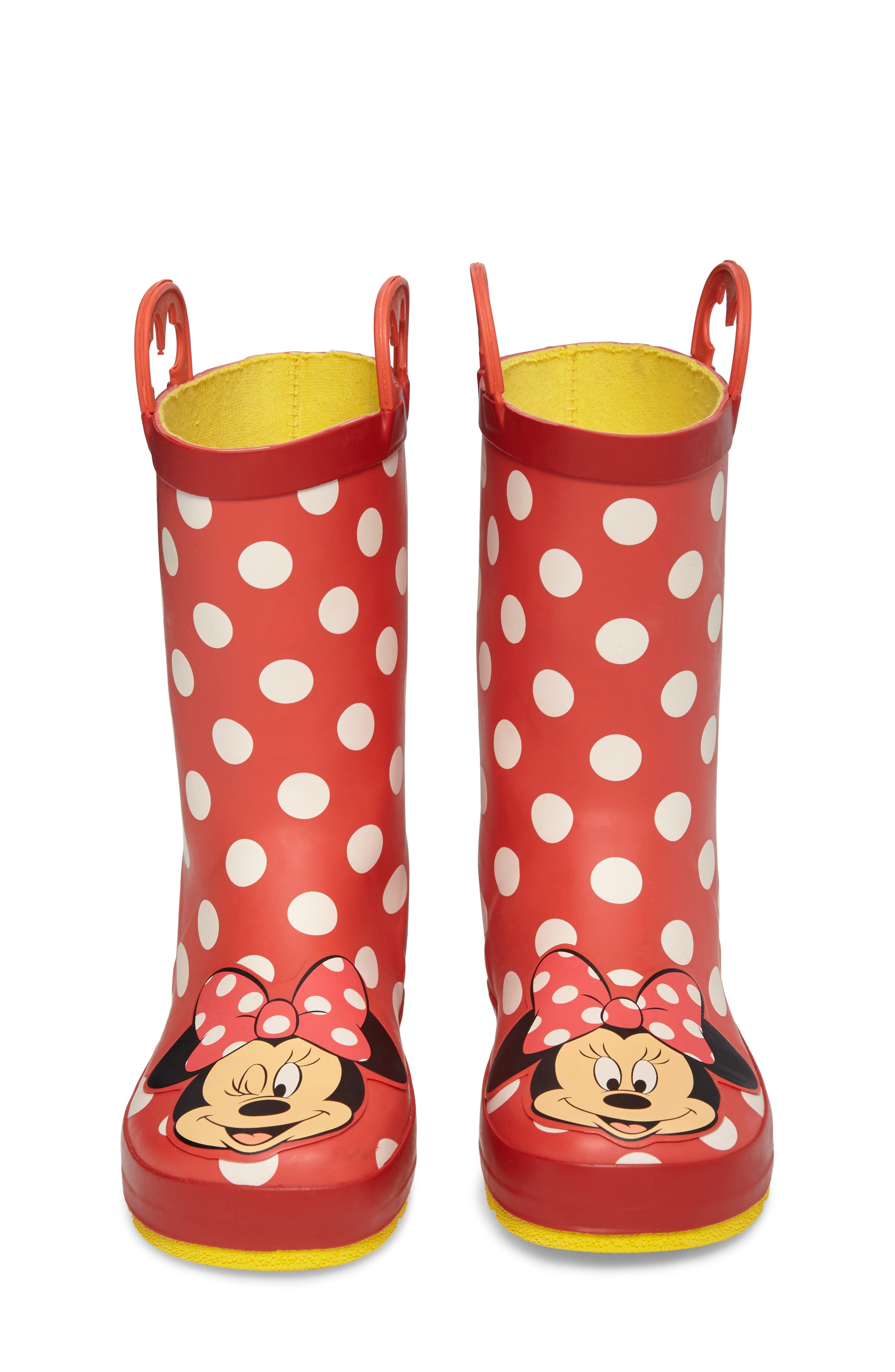 Minnie Mouse Rain Boot,                             Alternate thumbnail 4, color,                             Red