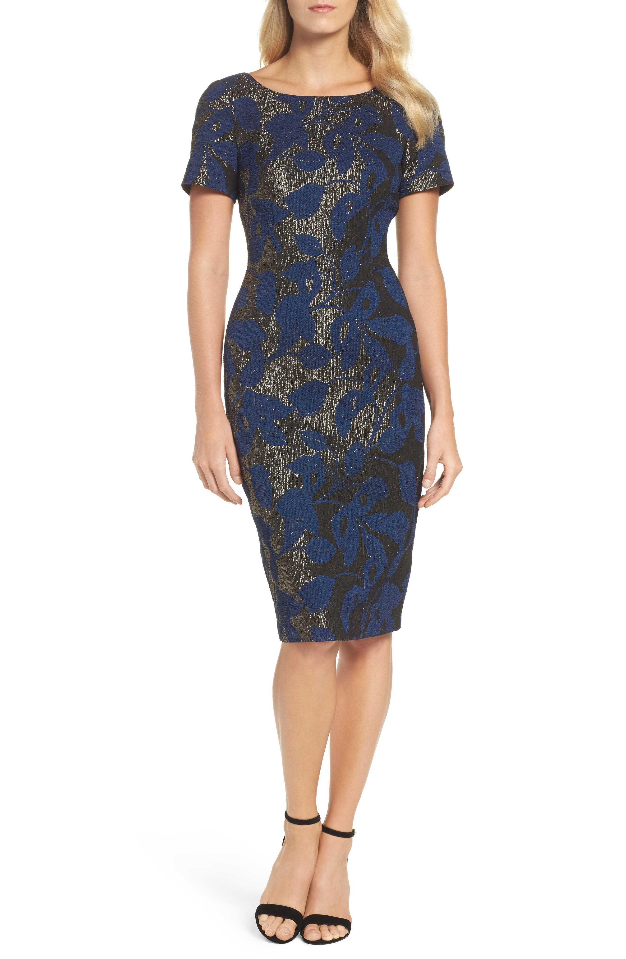 Main Image - Adrianna Papell Metallic Jacquard Sheath Dress