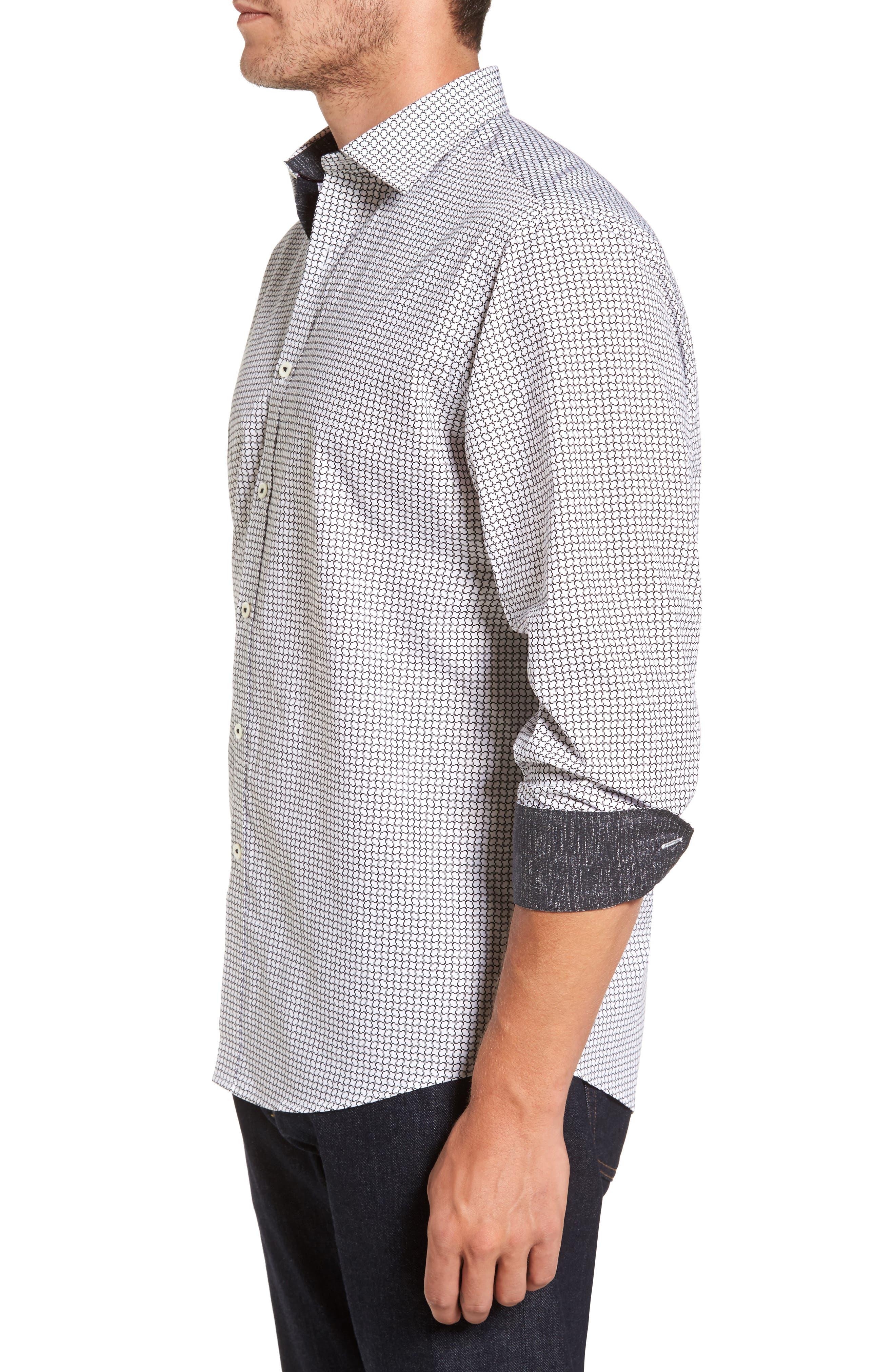 Classic Fit Print Sport Shirt,                             Alternate thumbnail 3, color,                             White