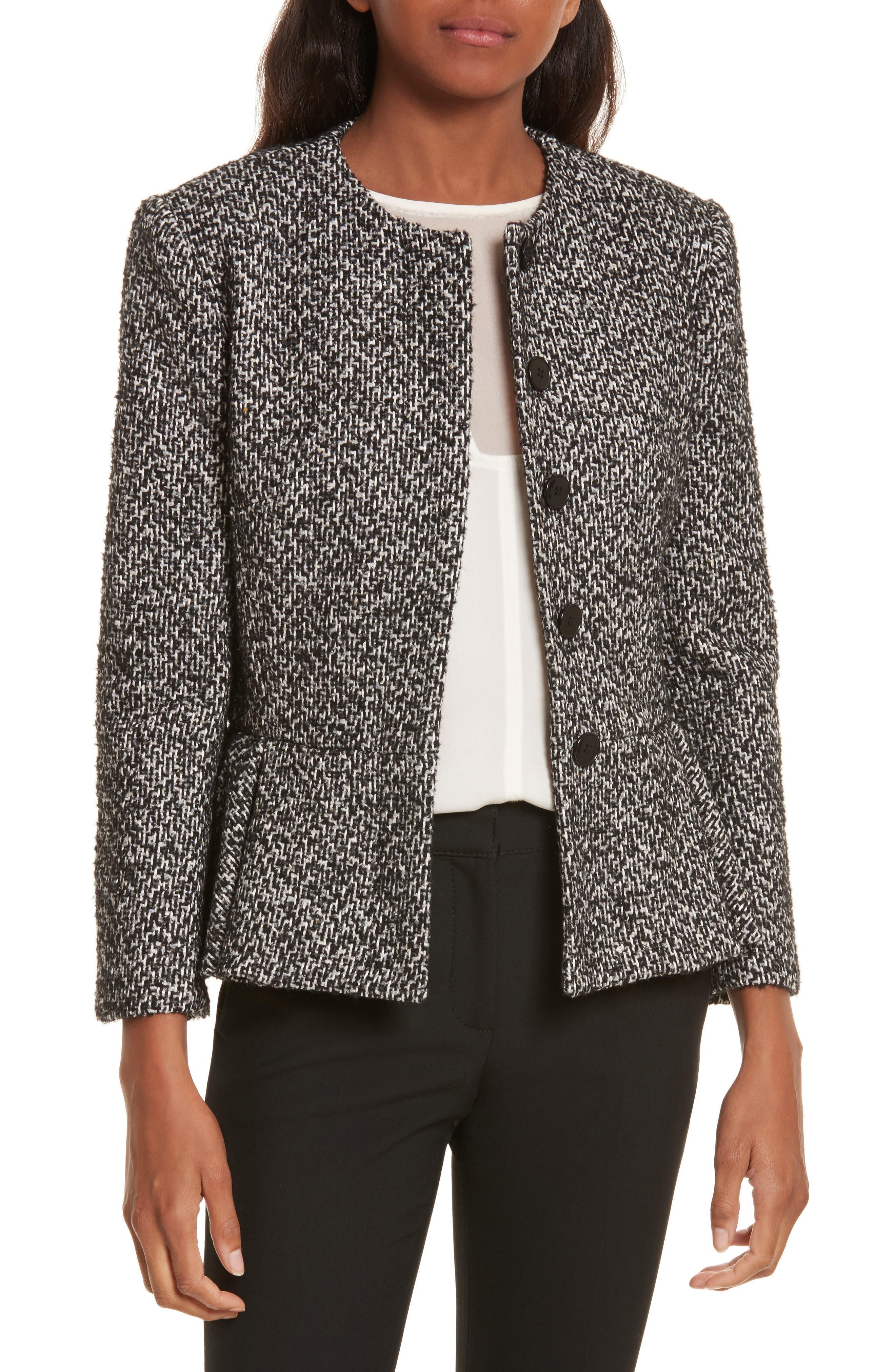 Tweed Peplum Jacket,                         Main,                         color, Black/ White/ Grey