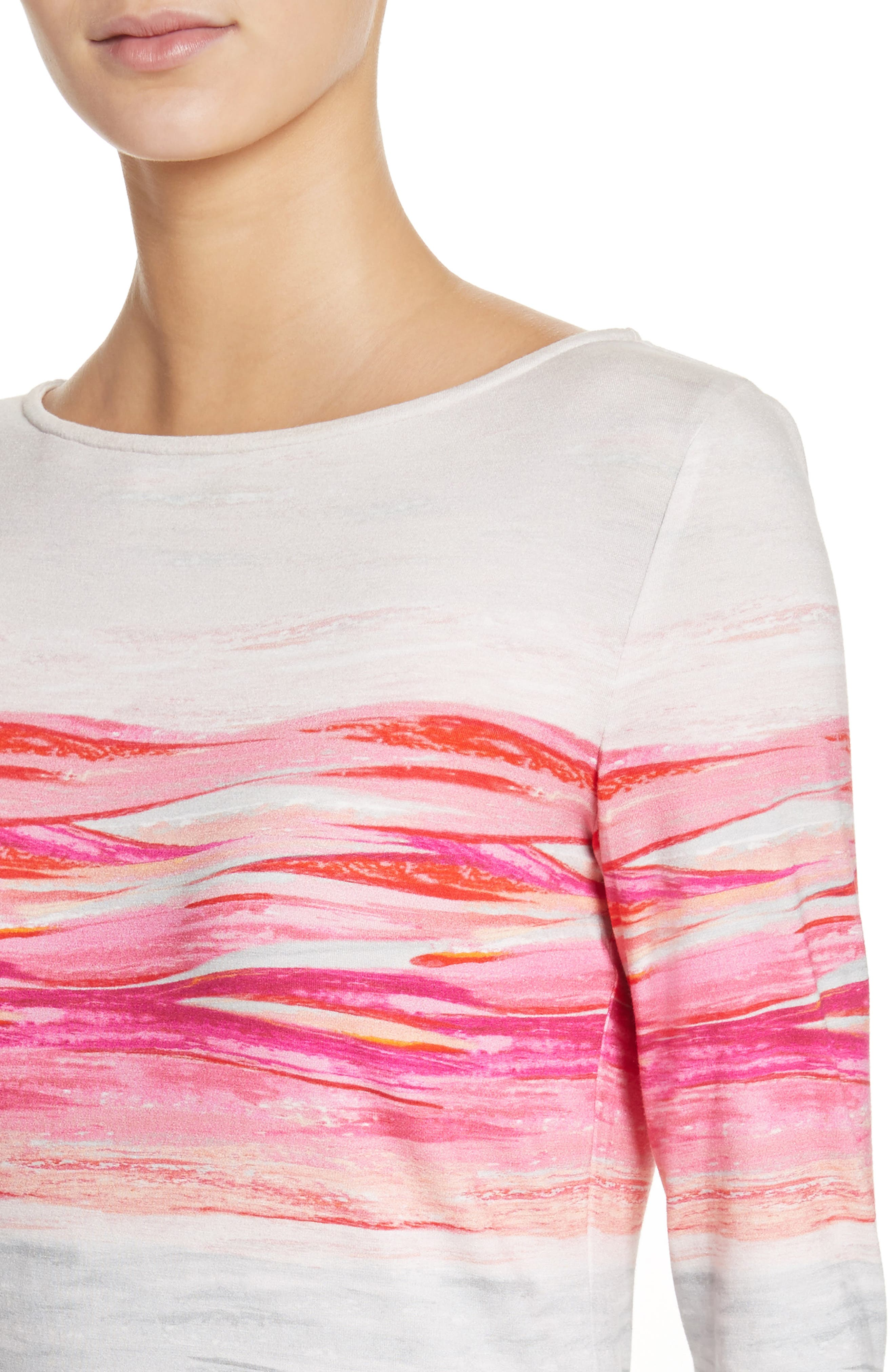 Textured Brushstroke Print Jersey Top,                             Alternate thumbnail 4, color,                             Bright Coral Multi