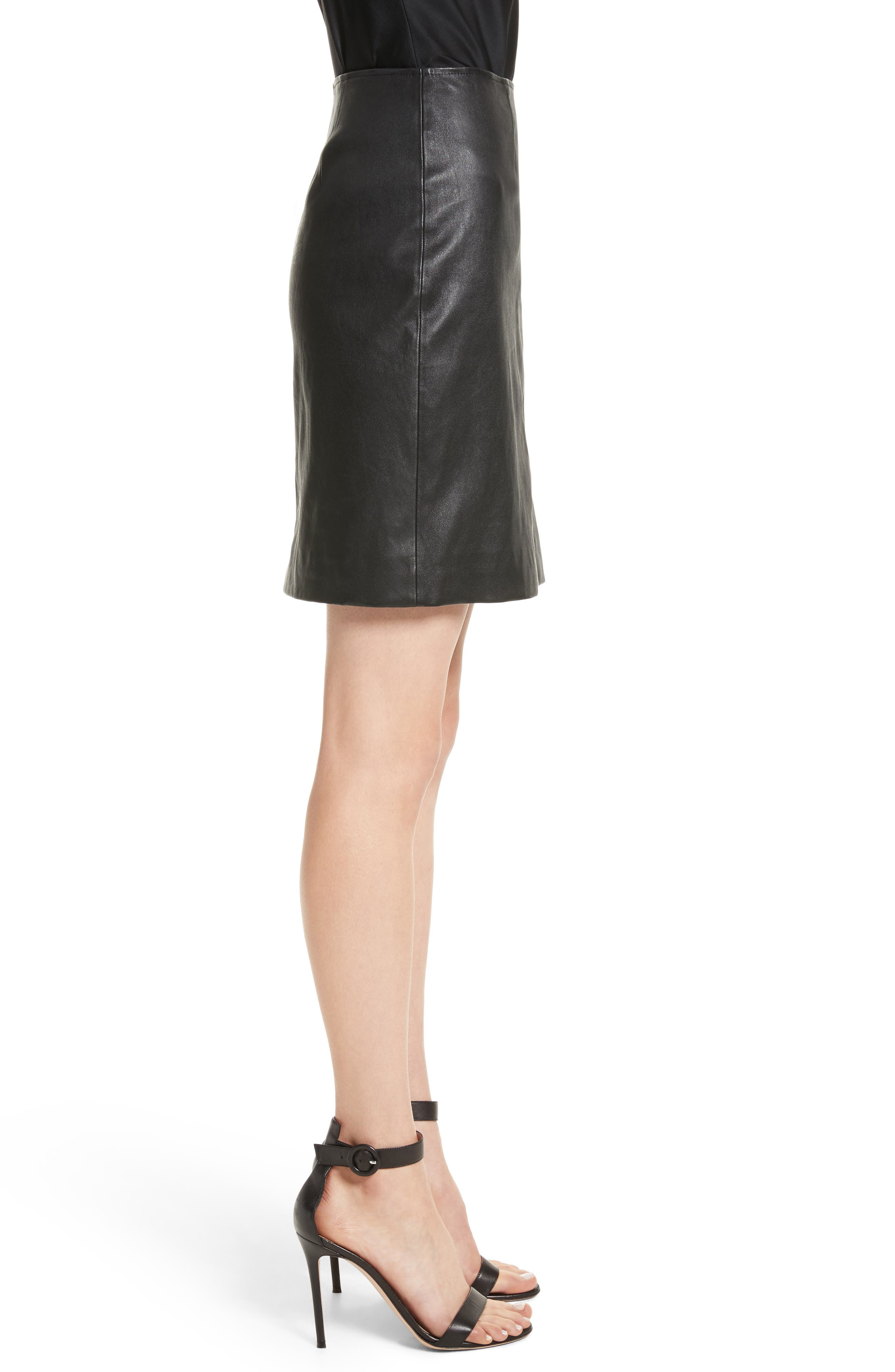 Stretch Nappa Leather Skirt,                             Alternate thumbnail 3, color,                             Caviar