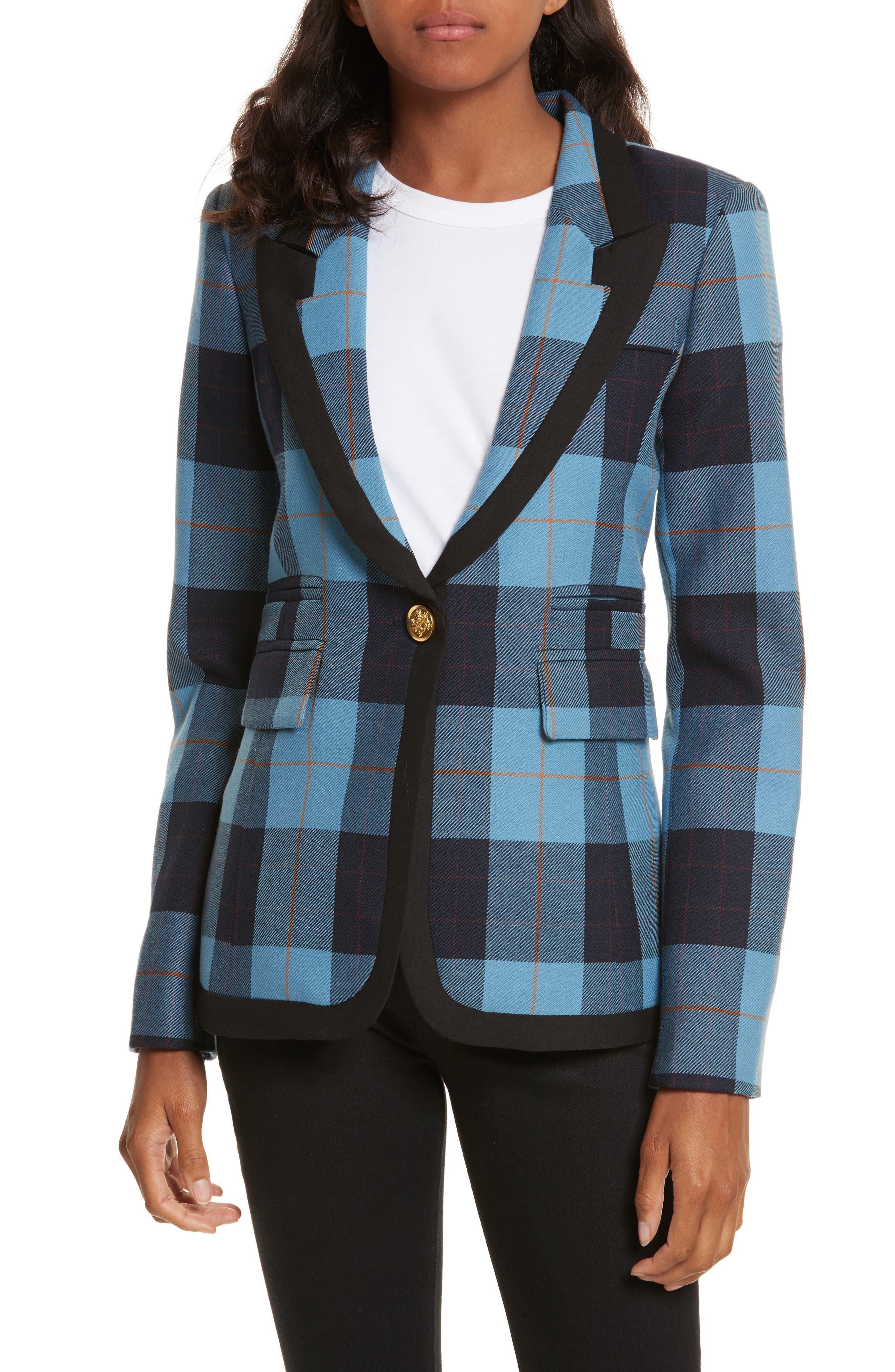 Taped Peak Lapel Plaid Blazer,                         Main,                         color, Blue Plaid W/ Black