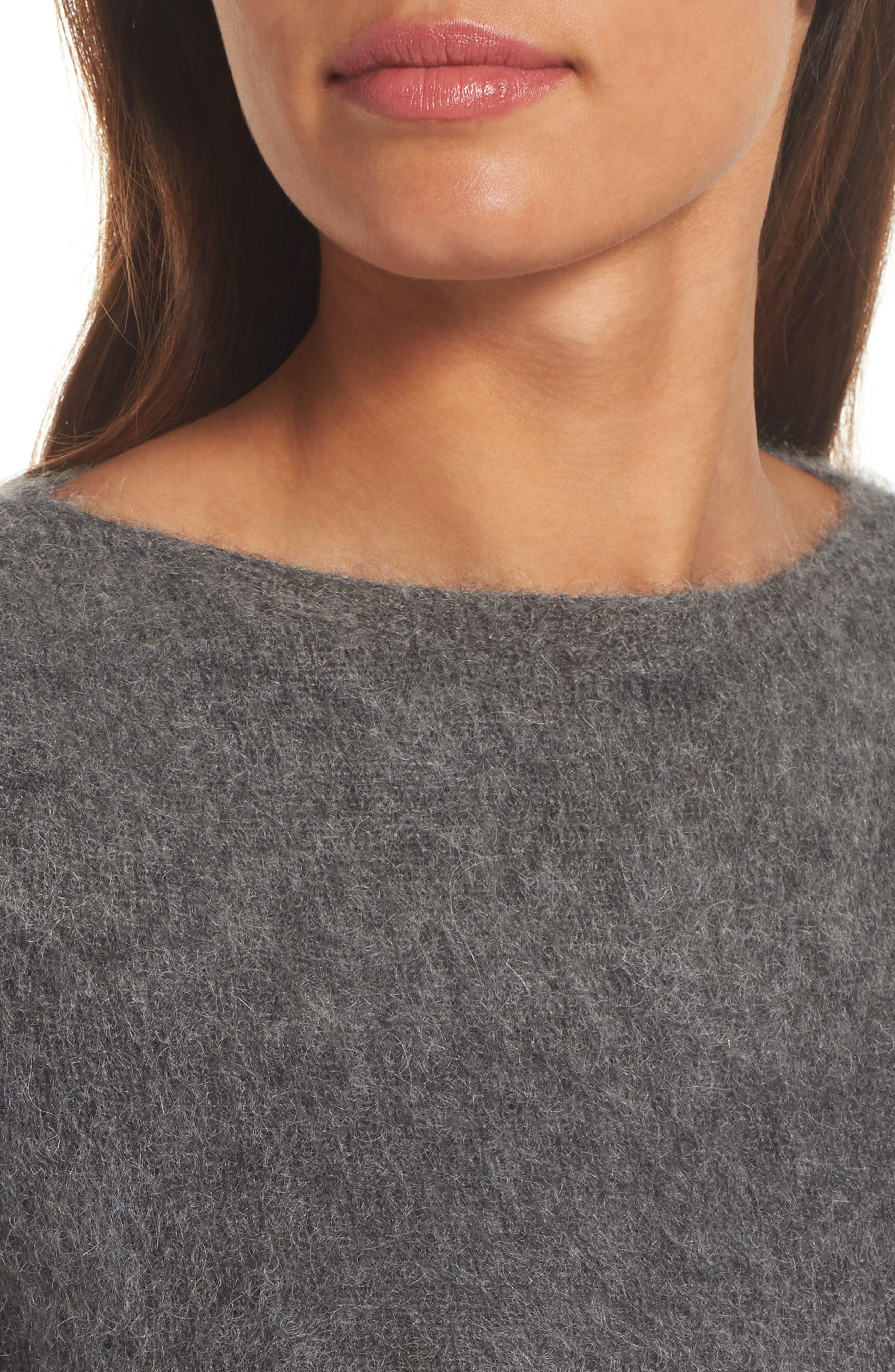 Alternate Image 4  - Eileen Fisher Stripe Mohair & Alpaca Blend Bateau Neck Sweater