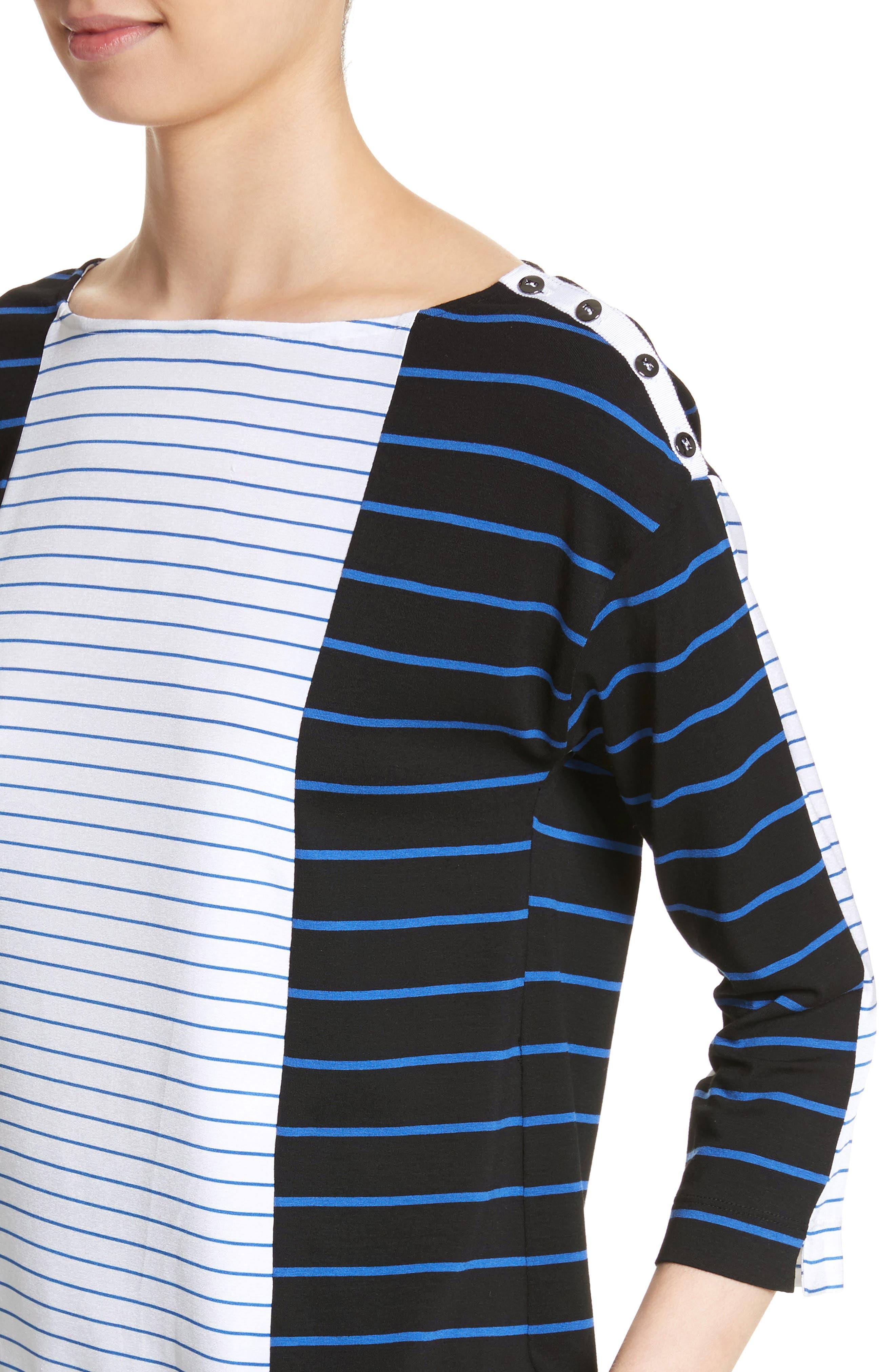 Yarn Dyed Stripe Jersey Top,                             Alternate thumbnail 4, color,                             Caviar/ Niagara/ Bianco