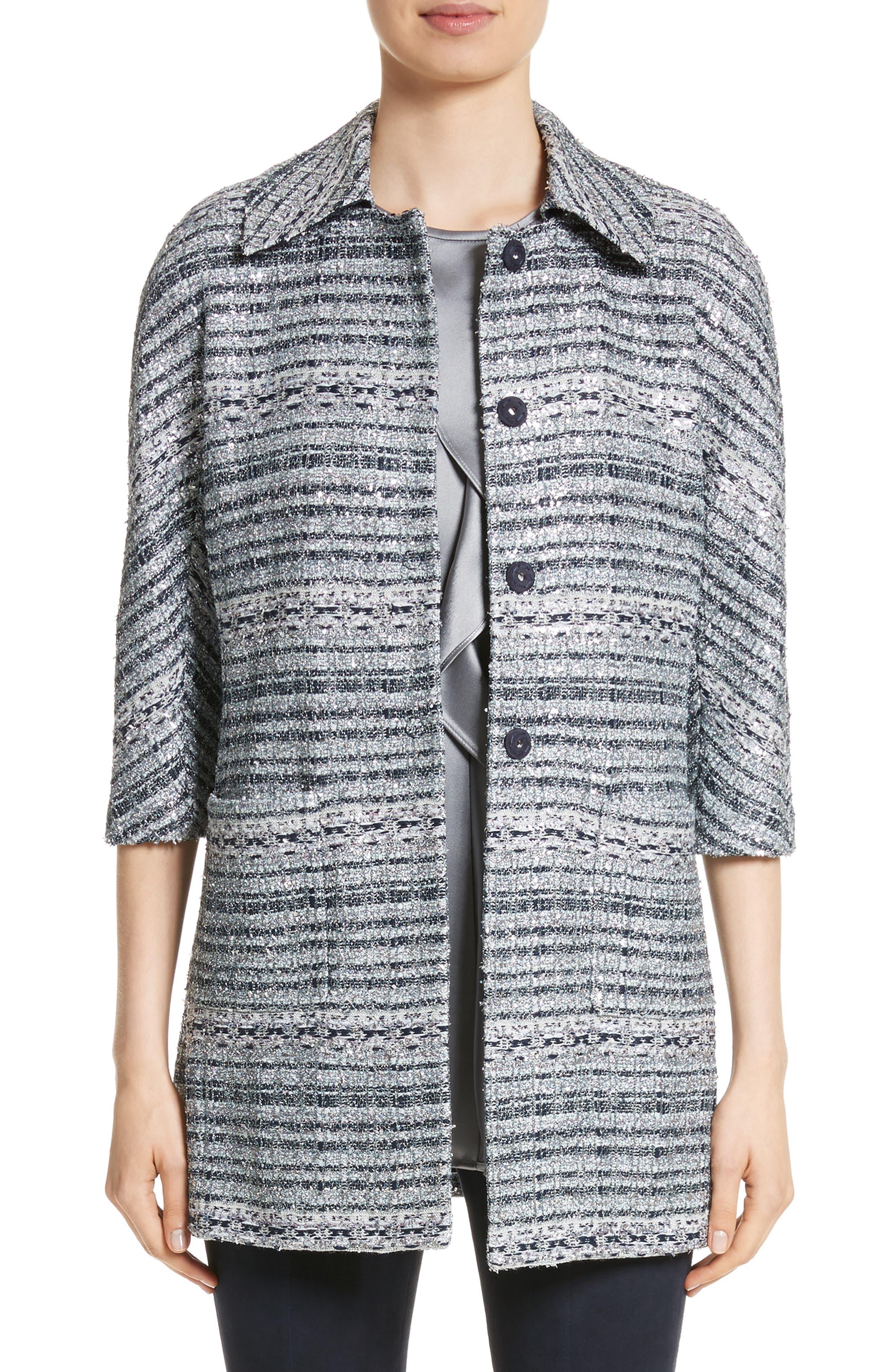 Main Image - St. John Collection Lacquered Metallic Ribbon Knit Jacket