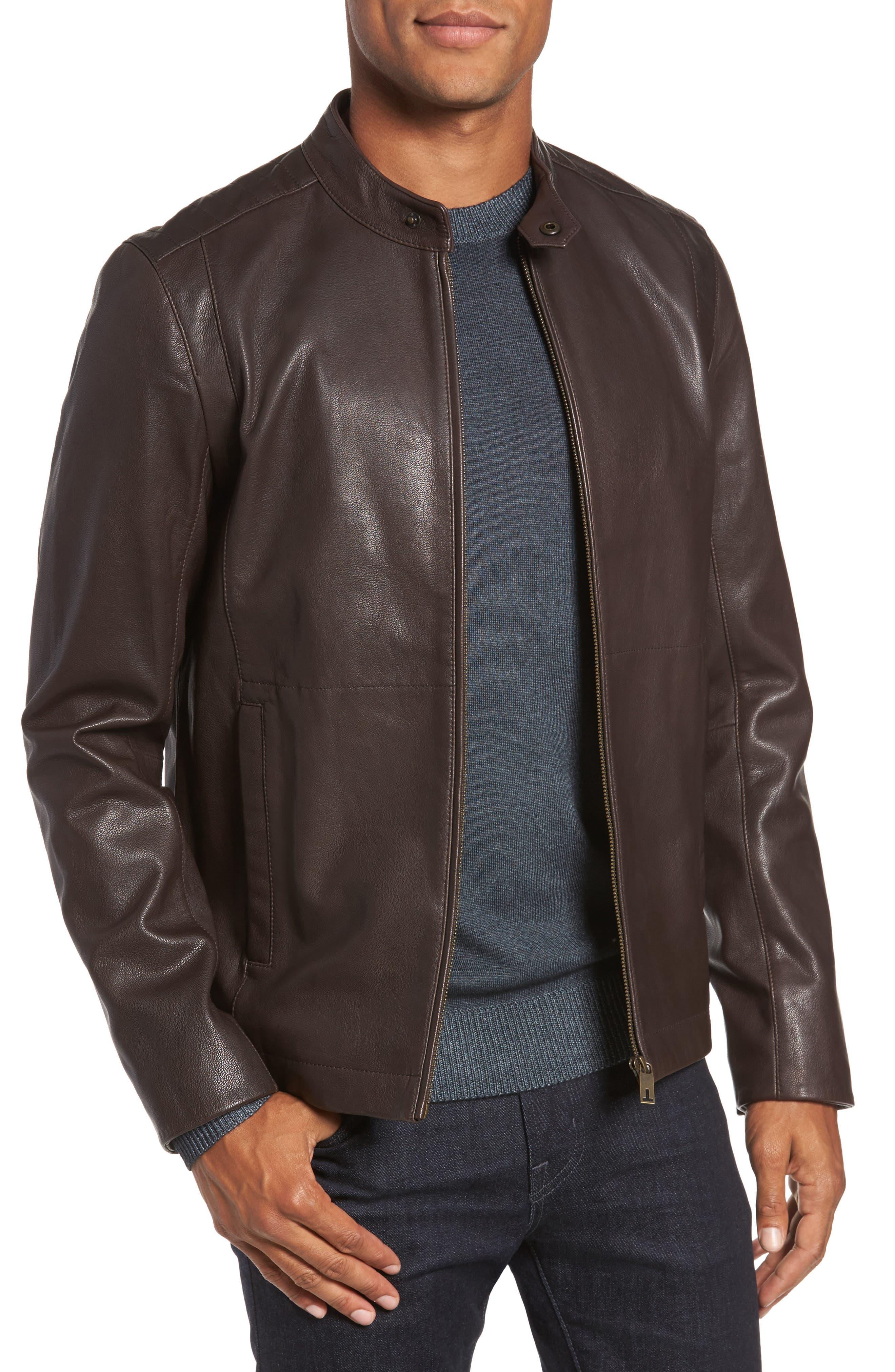Ted Baker London Mate Leather Biker Jacket