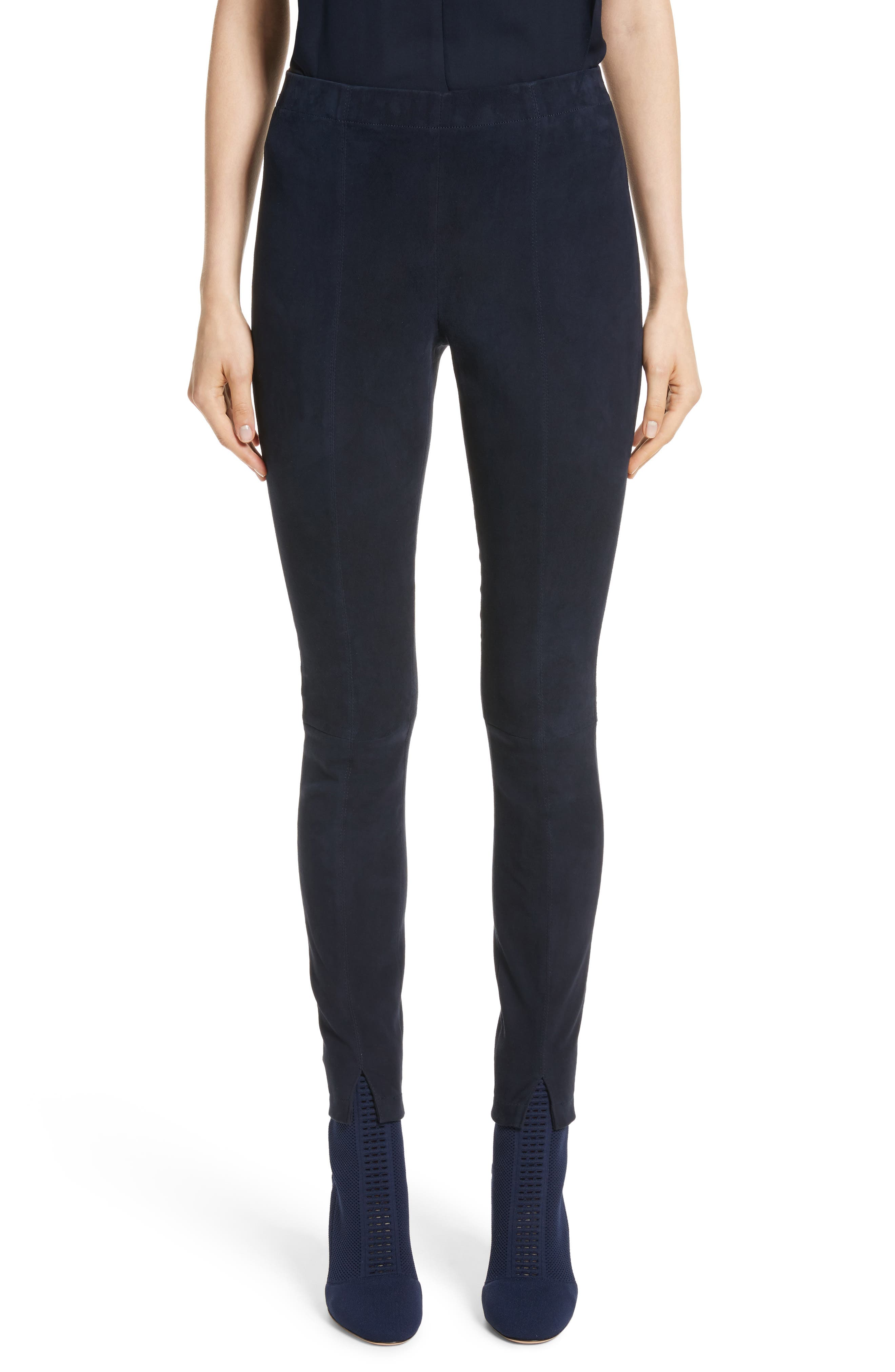 Main Image - St. John Collection Stretch Suede Crop Leggings