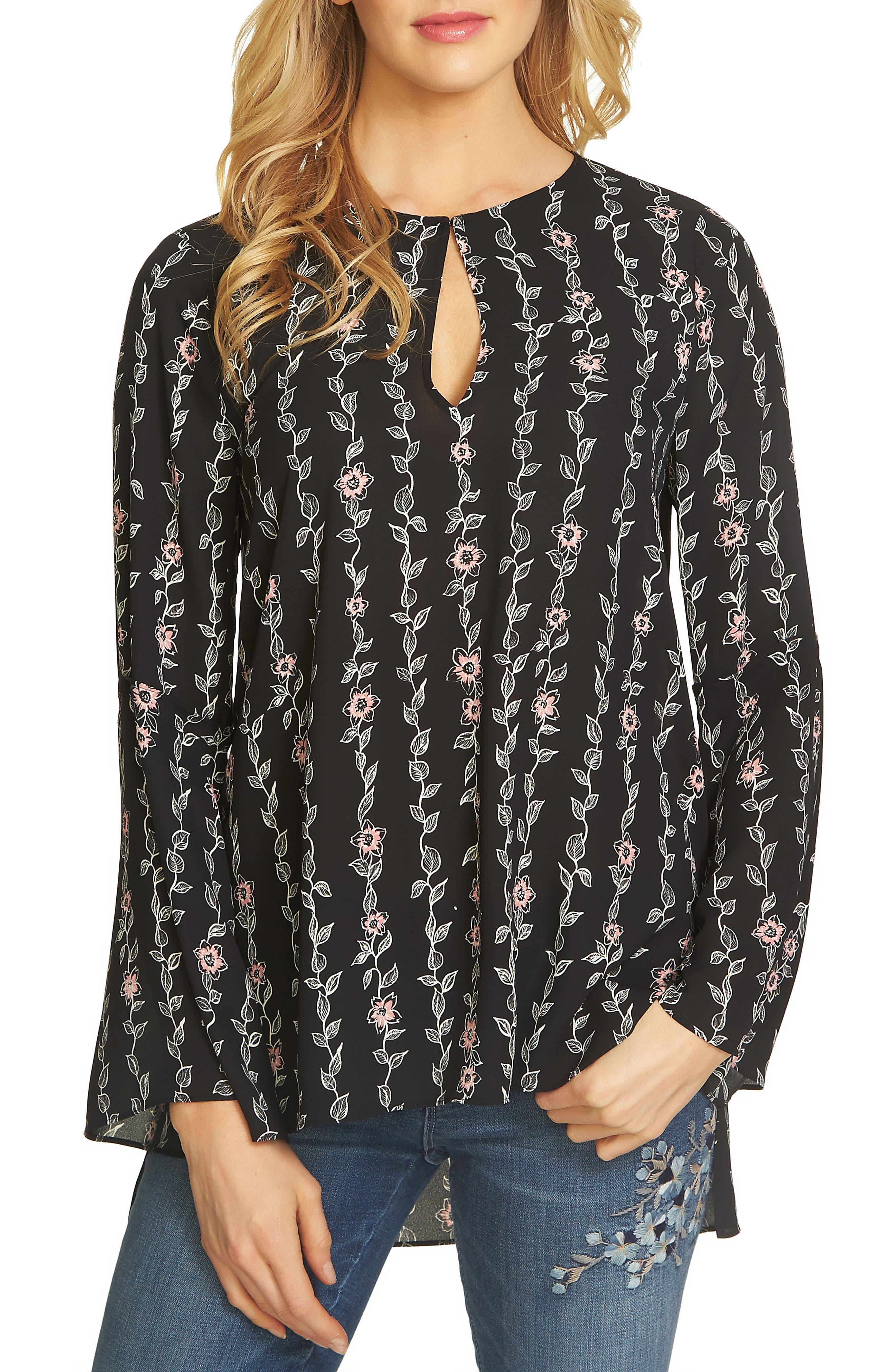 CeCe Floral Keyhole Tunic Top