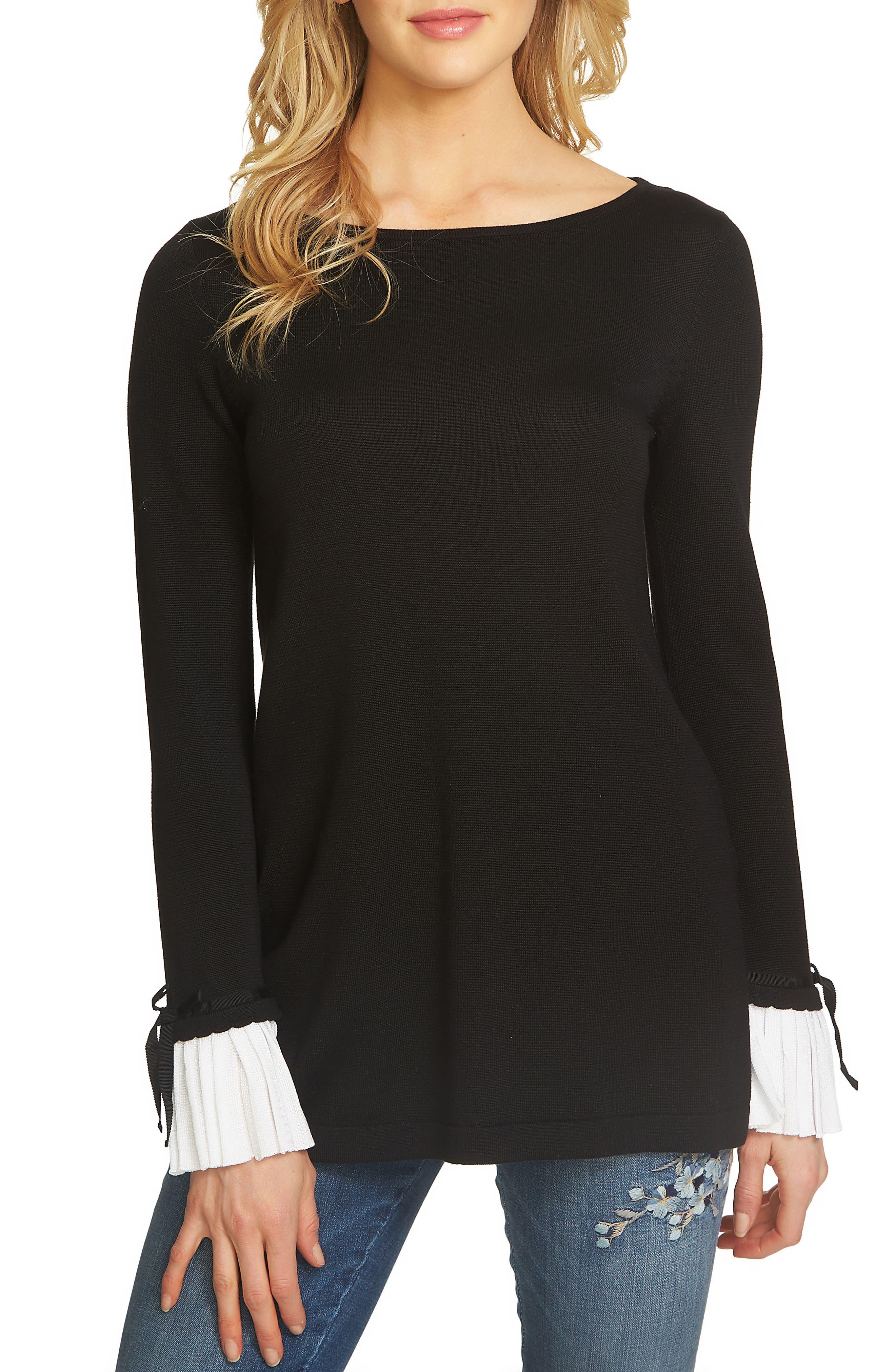 CeCe Pleated Cuff Tunic Sweater