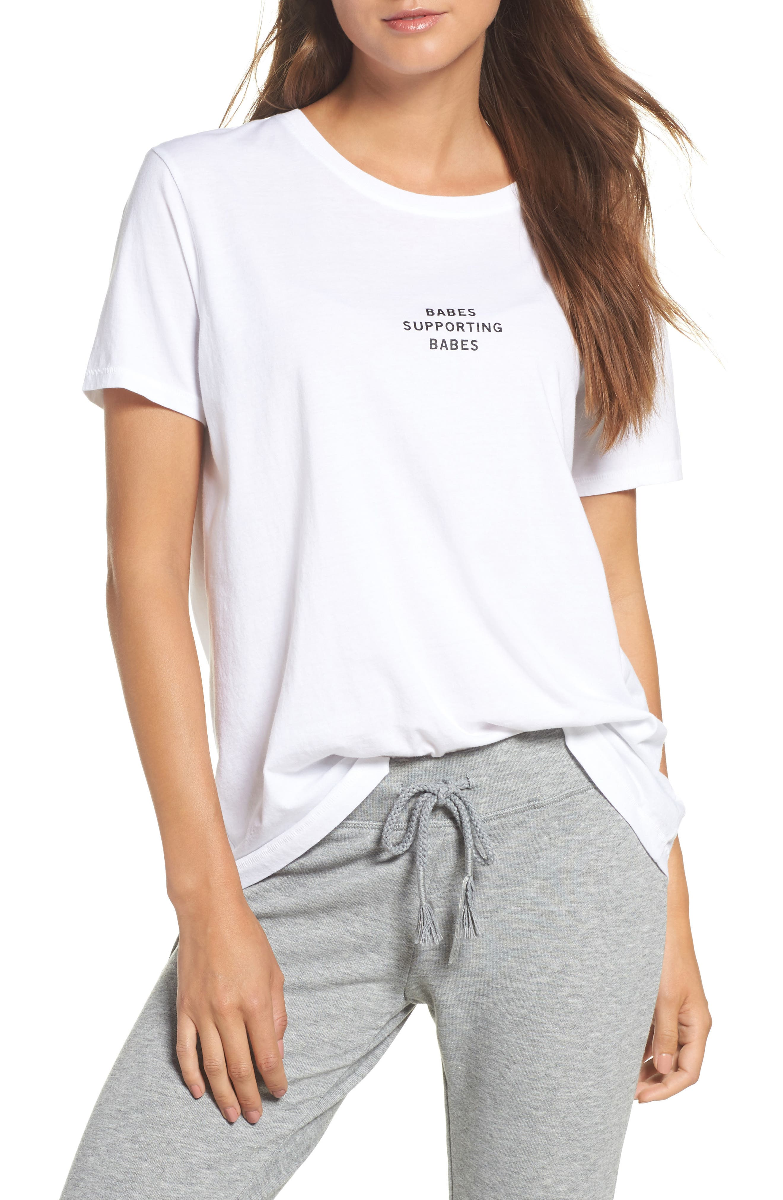 Babes Supporting Babes Tee,                         Main,                         color, White/ Black
