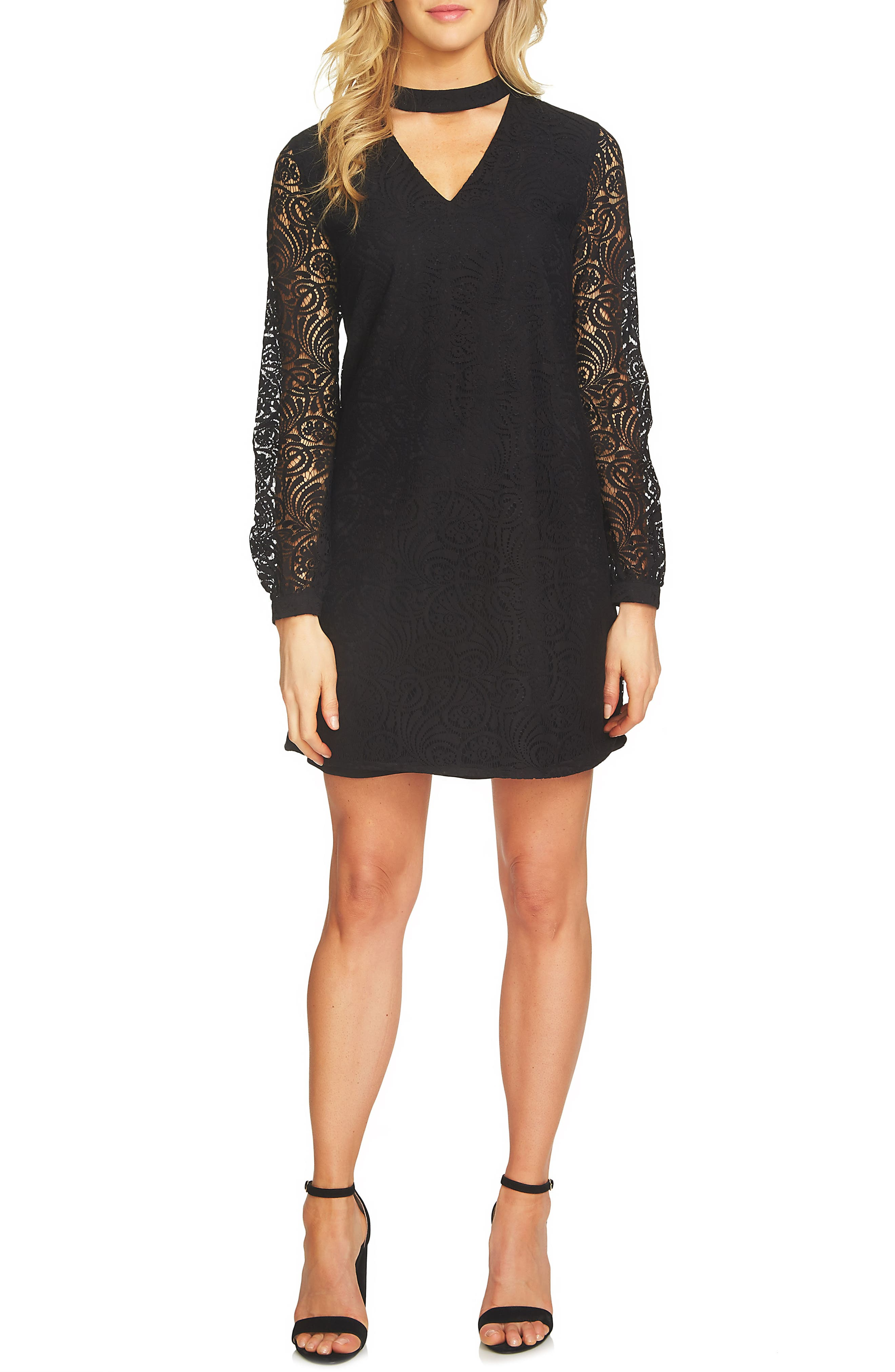 CeCe Mock Choker Neck A-Line Lace Dress