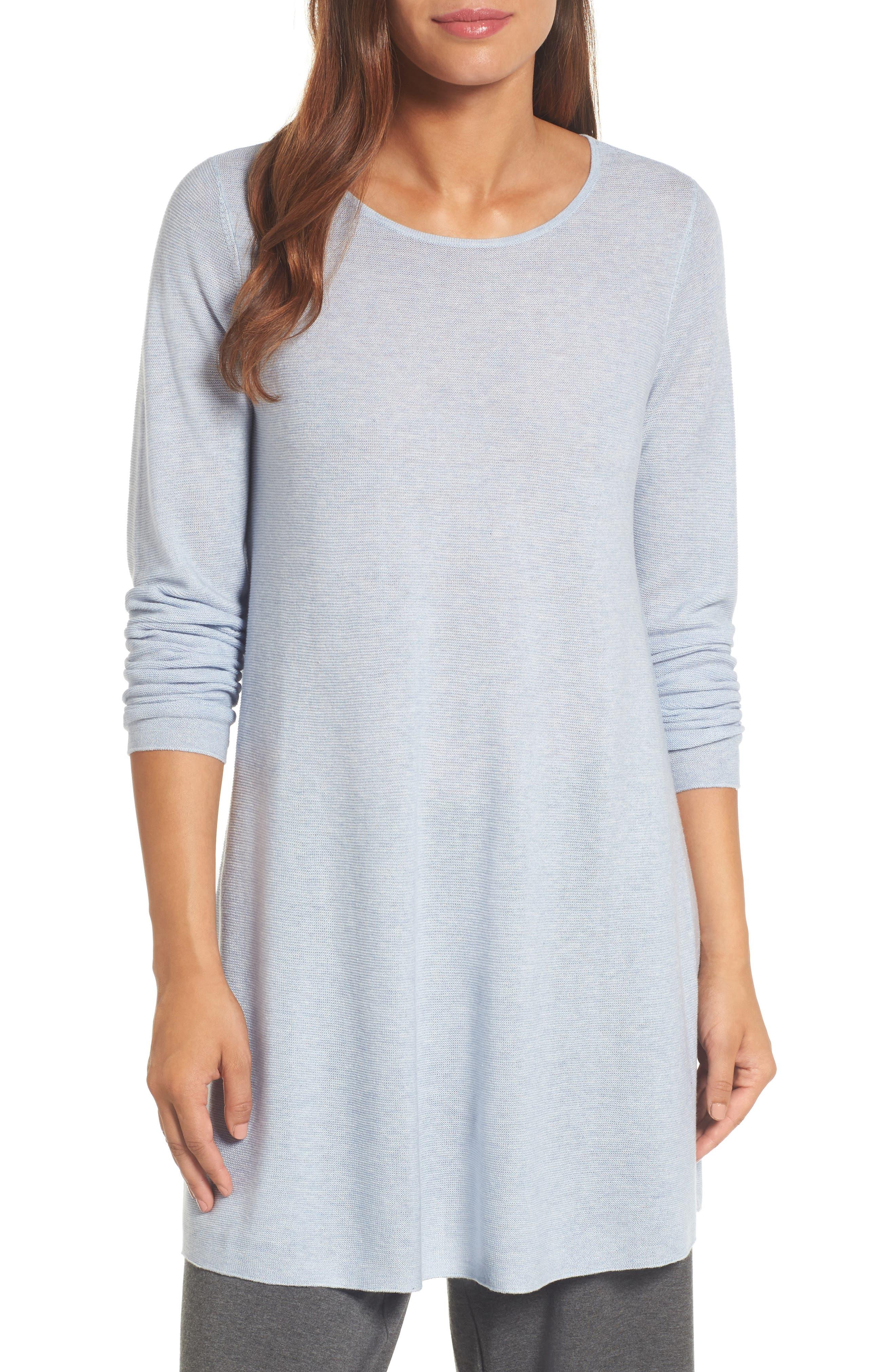 Jewel Neck Tunic Sweater,                         Main,                         color, Delphine