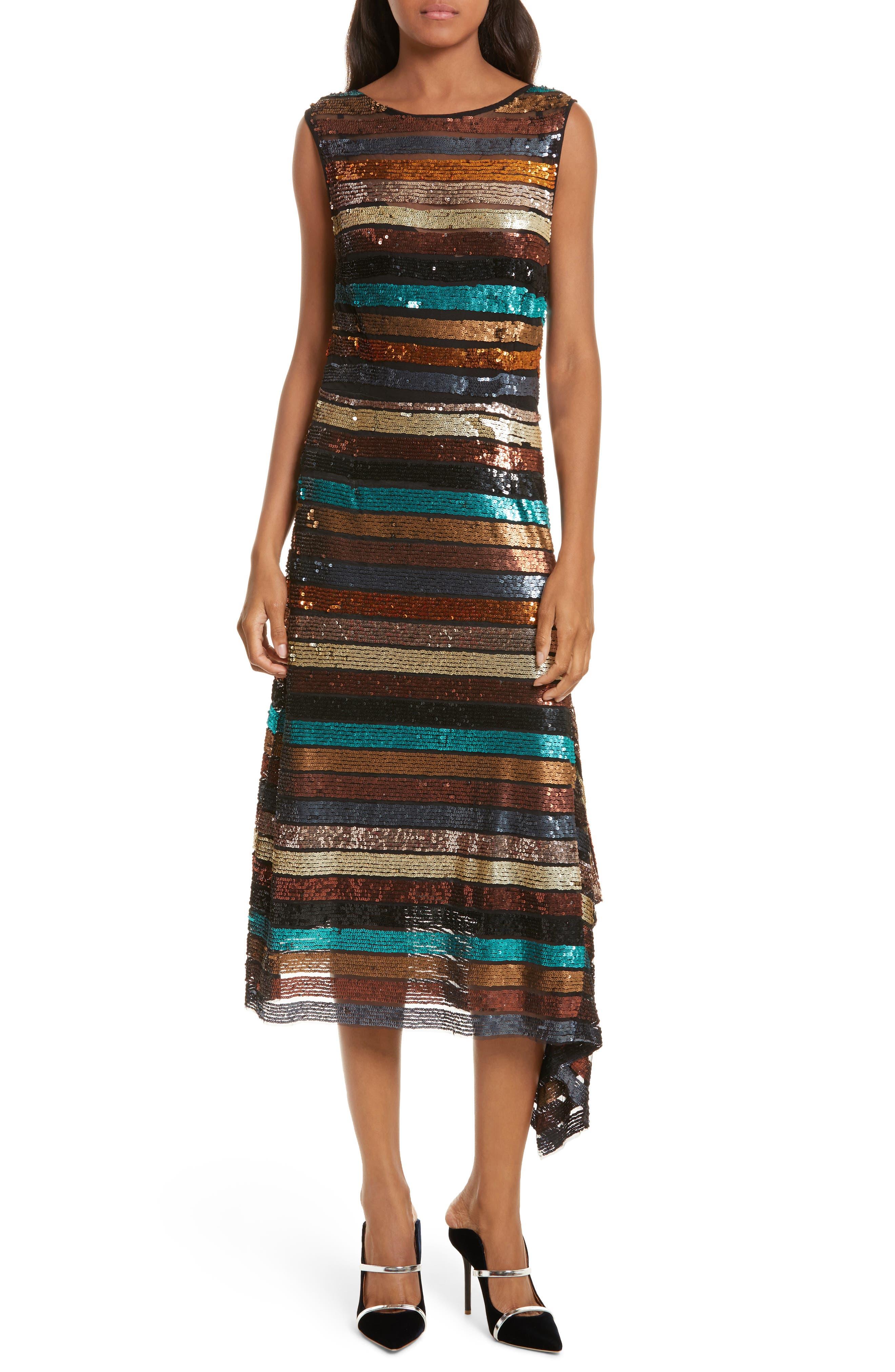 Flange Midi Dress,                         Main,                         color, Multi