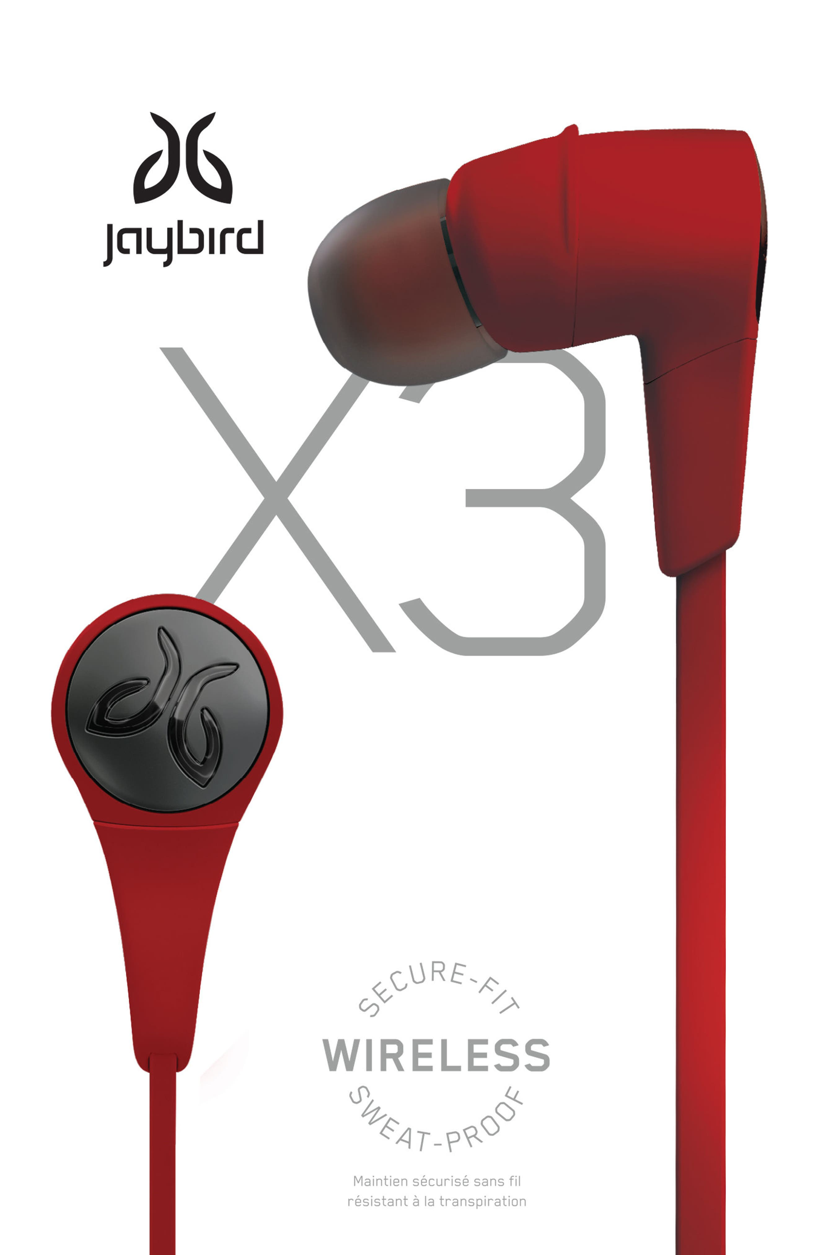 x3 Sport BT Wireless Earbuds,                             Alternate thumbnail 4, color,                             Red