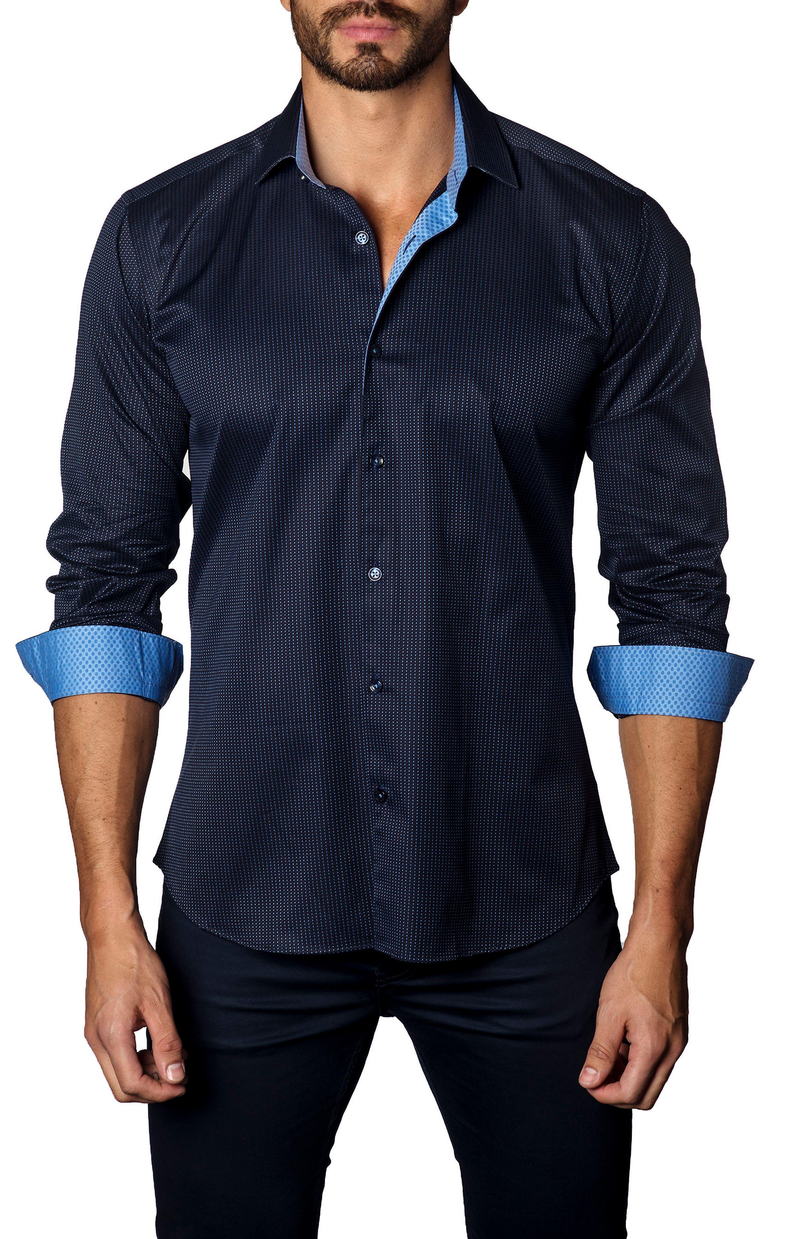 Trim Fit Dot Jacquard Sport Shirt,                             Main thumbnail 1, color,                             Navy Micro Dot