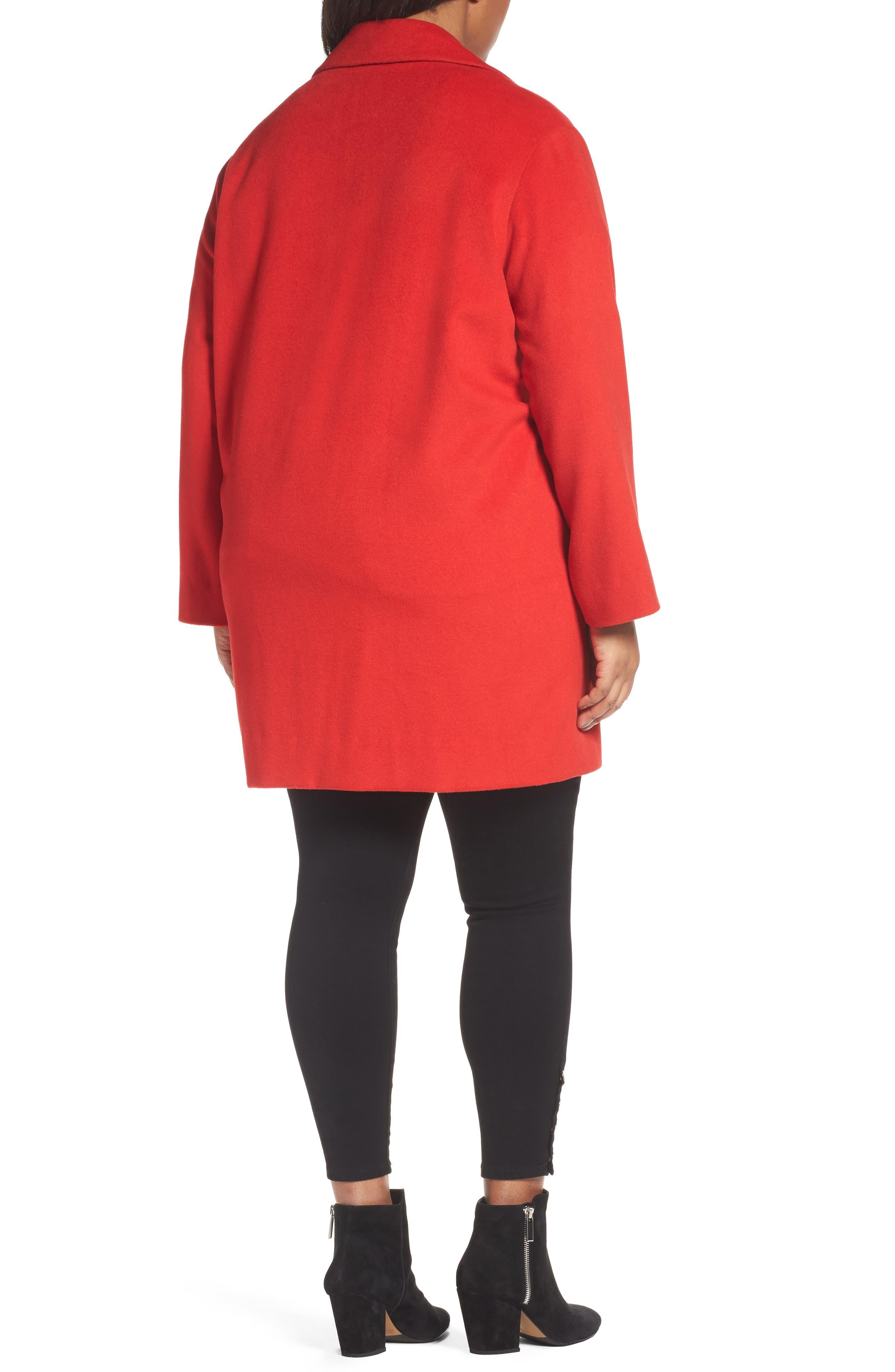 Wool Blend Coat,                             Alternate thumbnail 2, color,                             Red