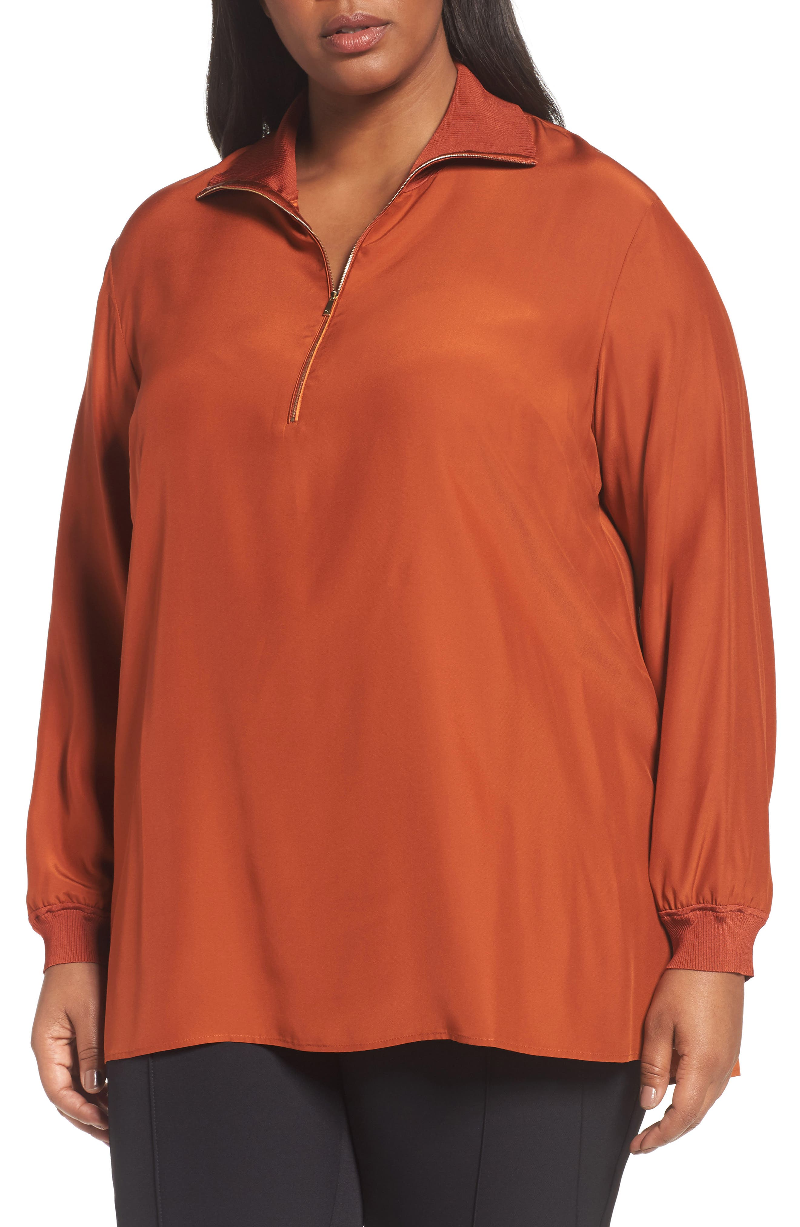 Lafayette Daryn V-Neck Zip Silk Blouse,                         Main,                         color, Harvest