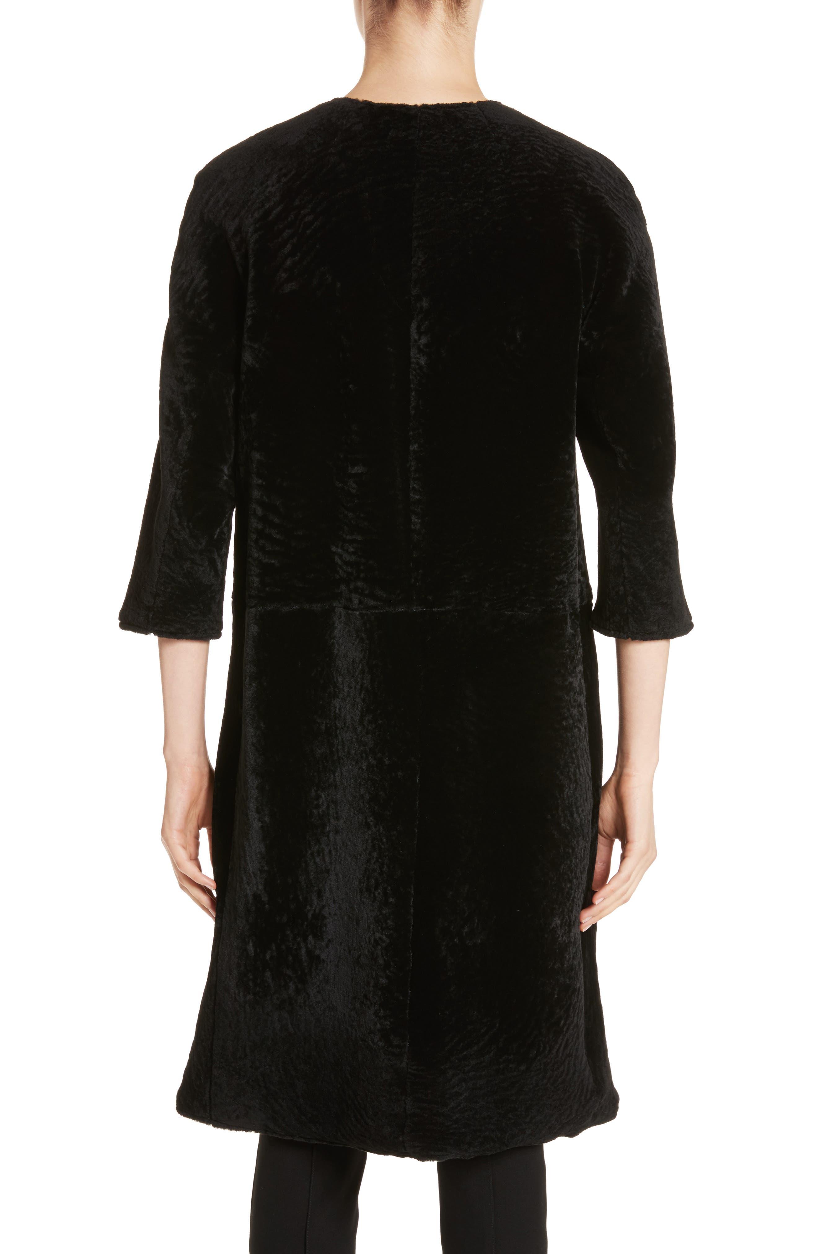 Genuine Textured Lamb Fur Jacket,                             Alternate thumbnail 2, color,                             Caviar
