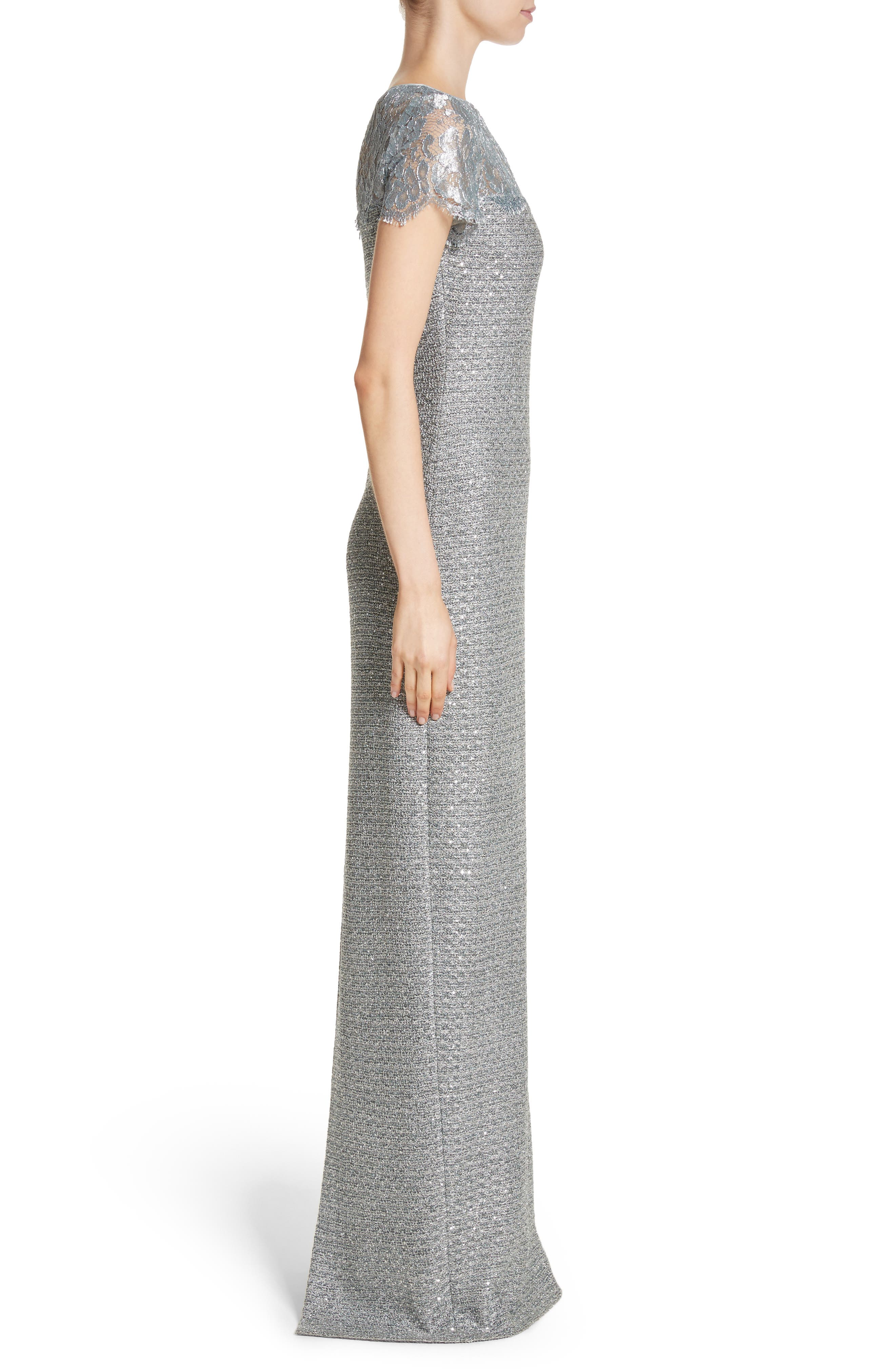 Metallic Knit Gown,                             Alternate thumbnail 3, color,                             Gunmetal Multi