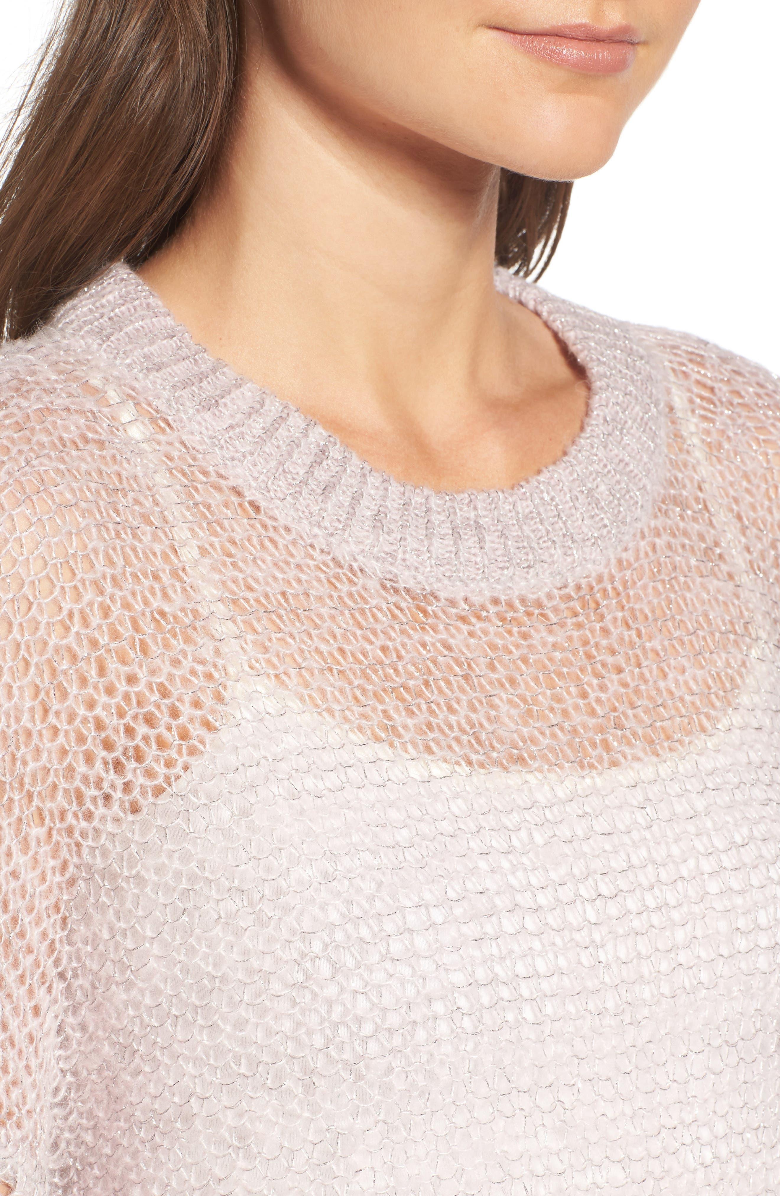 x Something Navy Sheer Metallic Sweater,                             Alternate thumbnail 4, color,                             Pink Parfait Combo