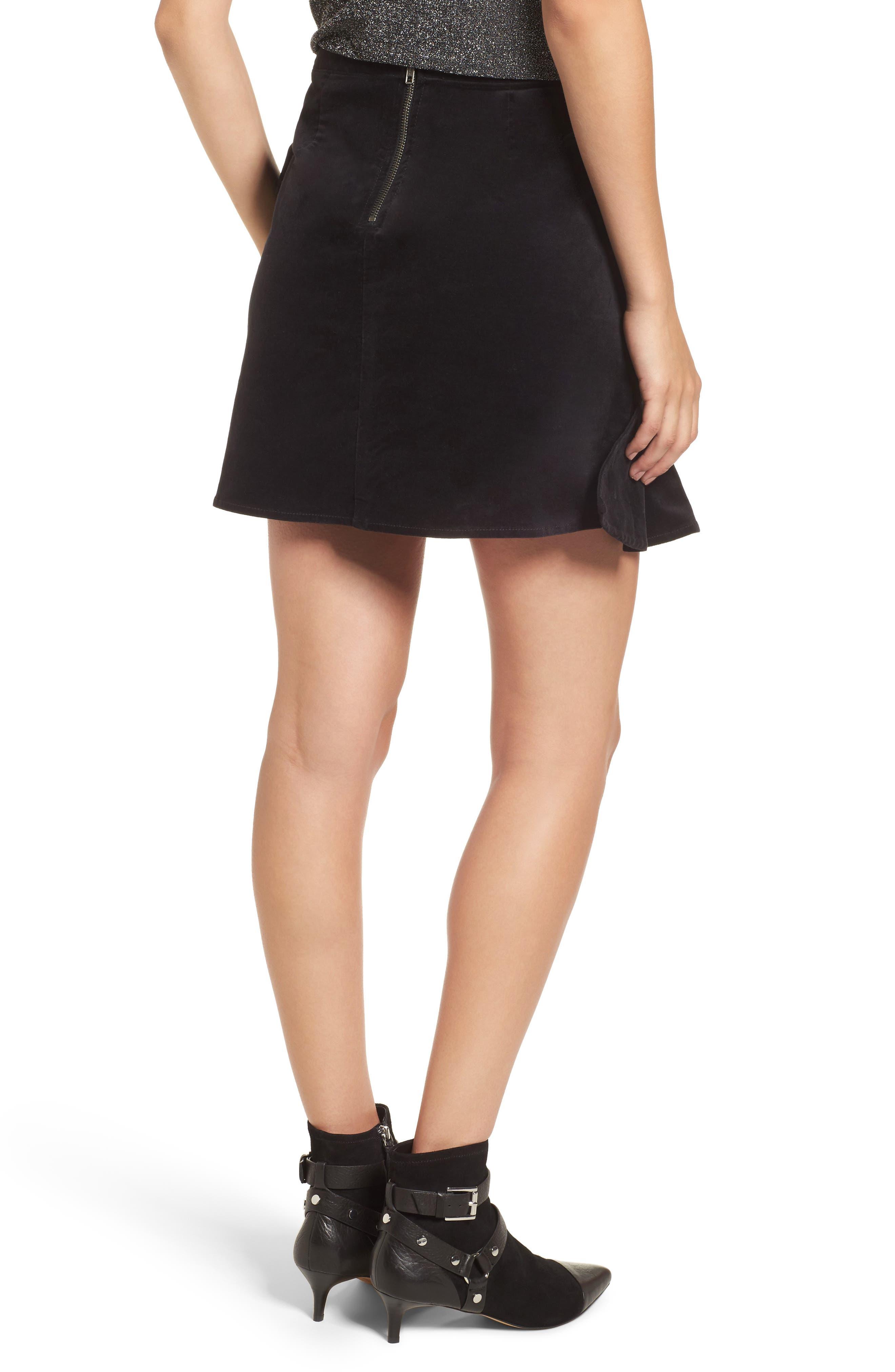 Ruffle Trim Velvet Skirt,                             Alternate thumbnail 2, color,                             Black