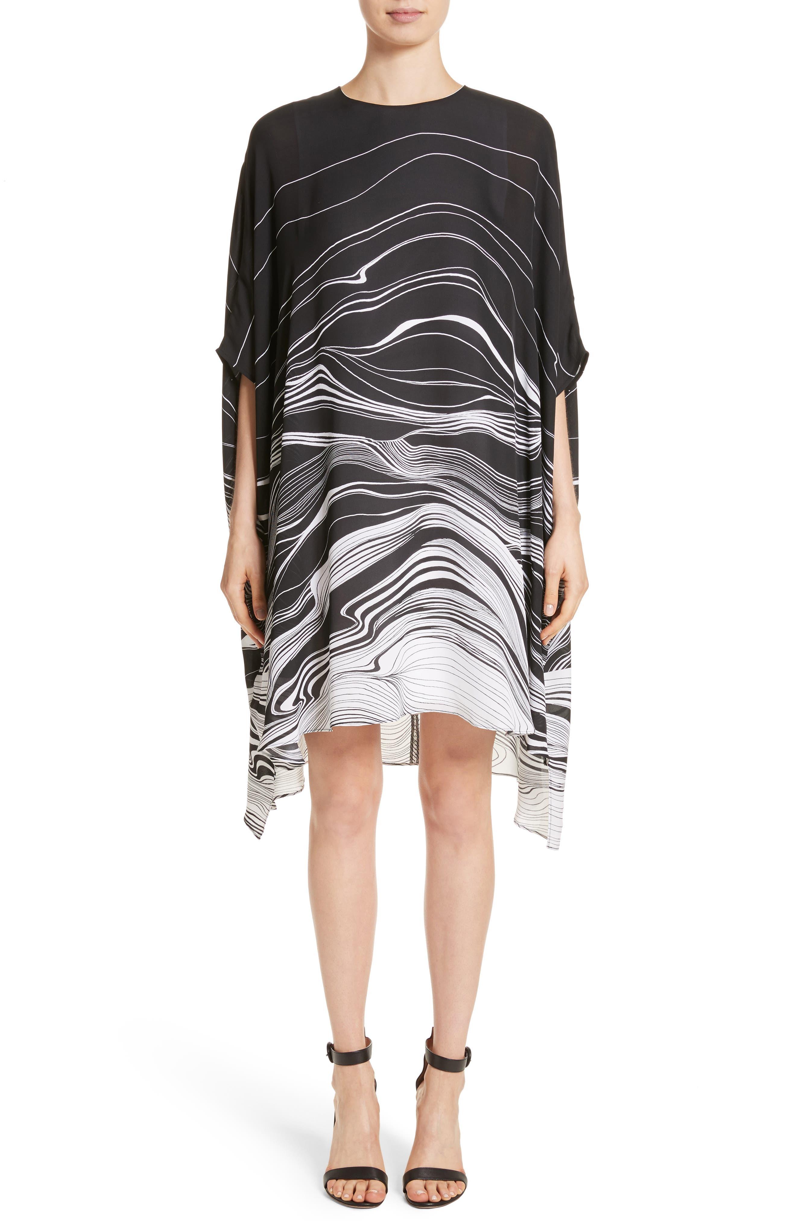 Brushstroke Print Silk Satin Dress,                         Main,                         color, Caviar/ Bianco