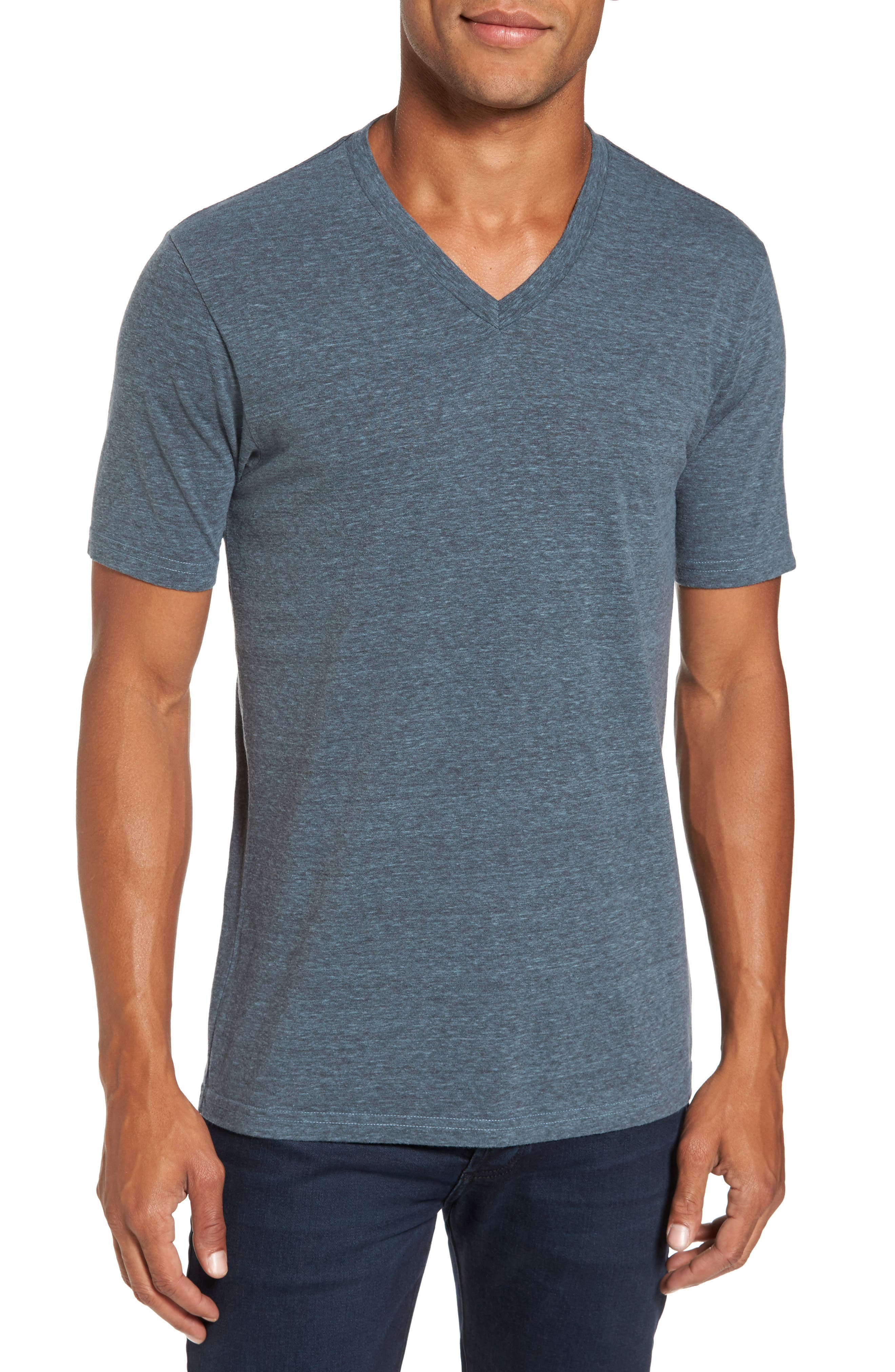 V-Neck Heathered T-Shirt,                         Main,                         color, Real Teal