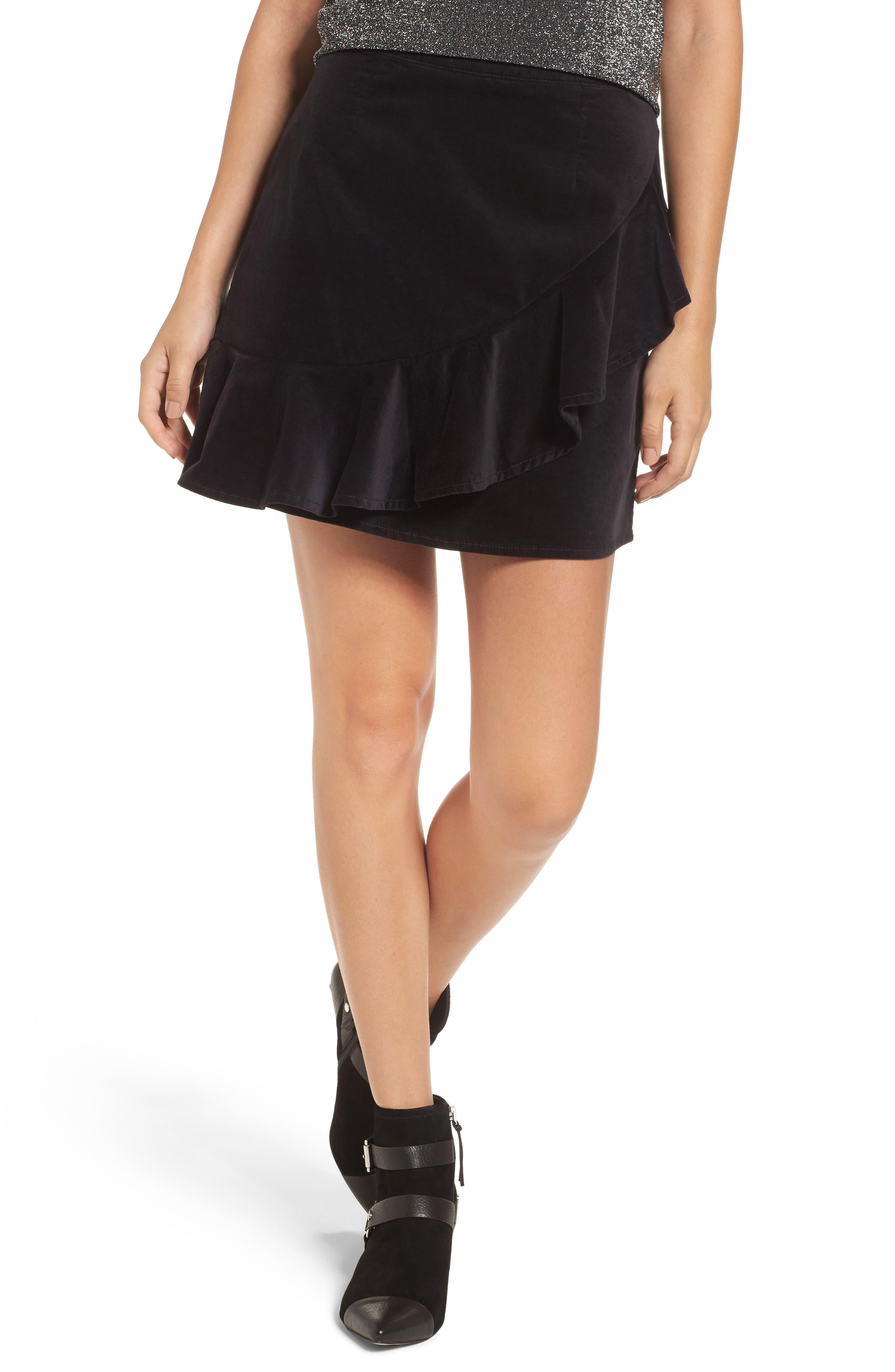 Ruffle Trim Velvet Skirt,                             Main thumbnail 1, color,                             Black