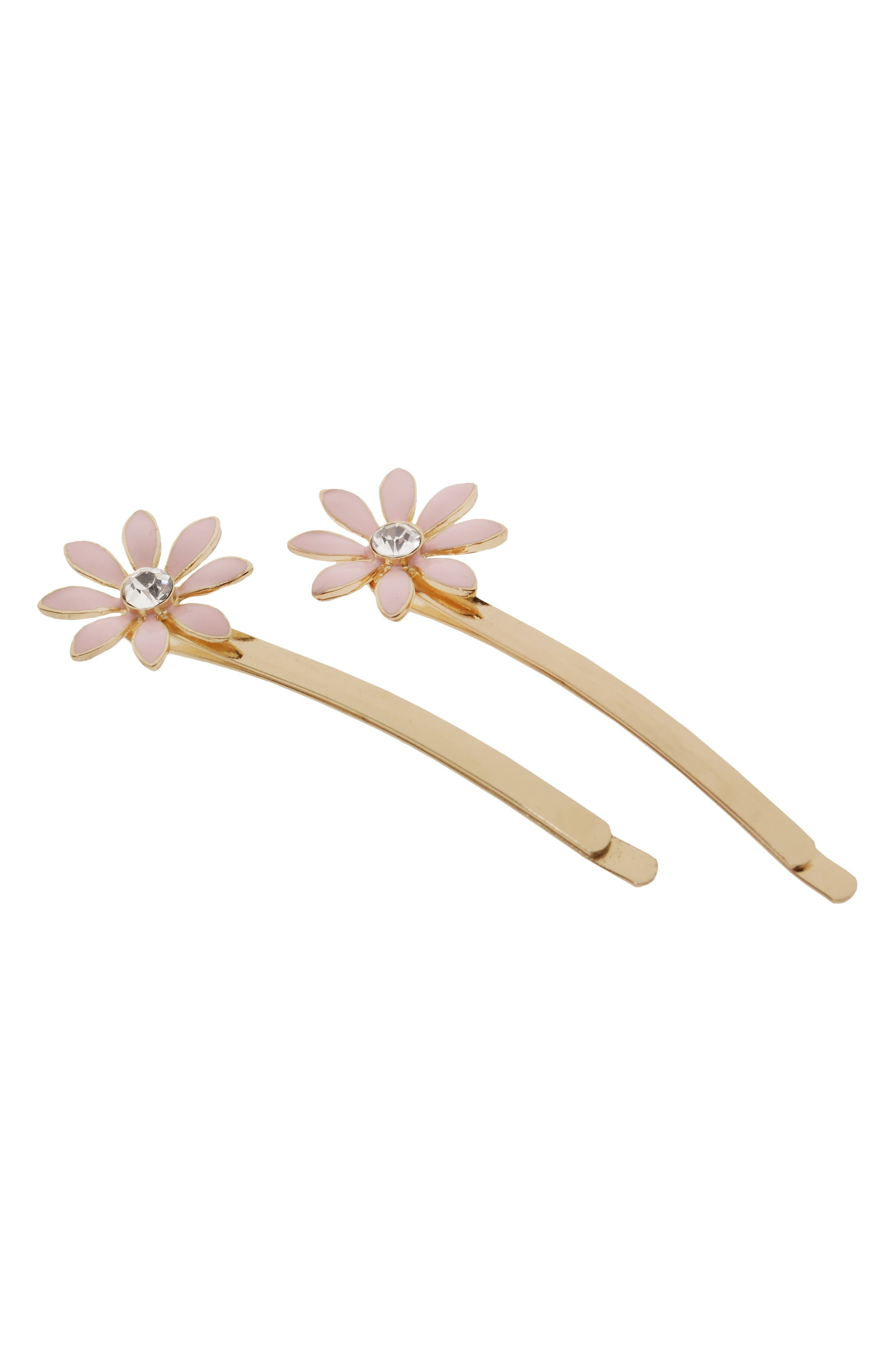 2-Pack Daisy Bobby Pins,                         Main,                         color, Pale Pink/ Gold