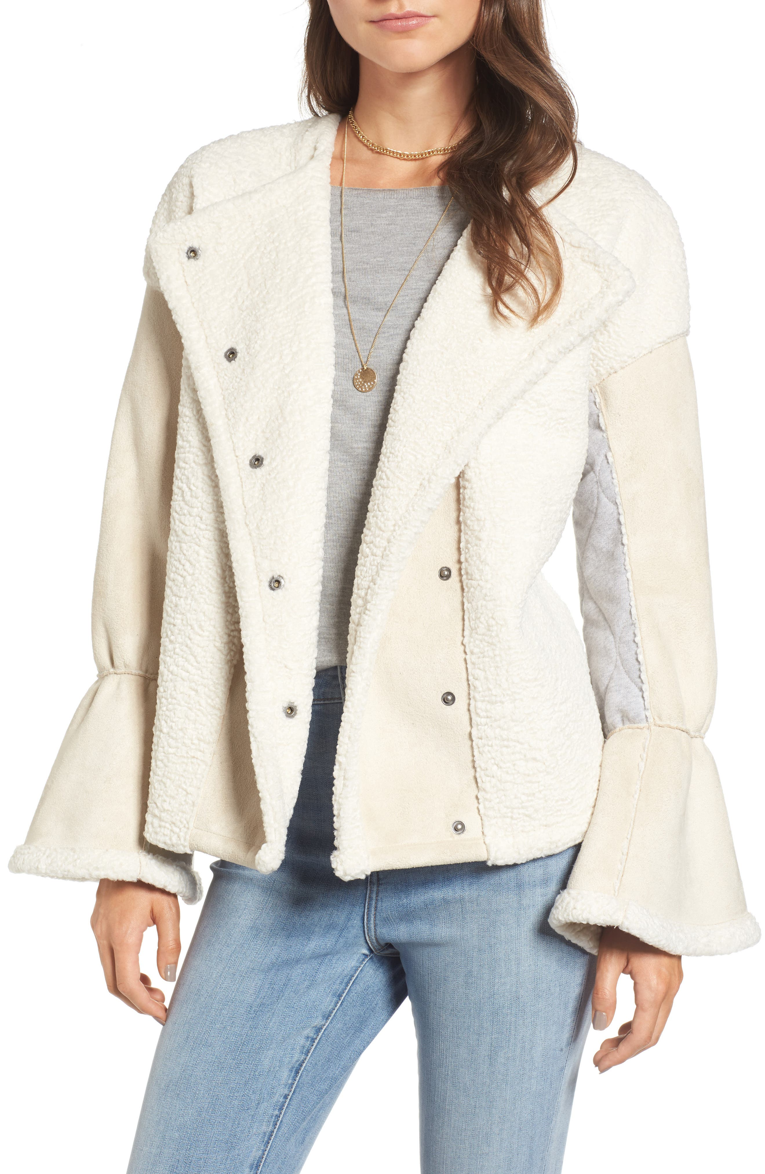 x Something Navy Bell Sleeve Faux Shearling Jacket,                         Main,                         color, Ivory Combo