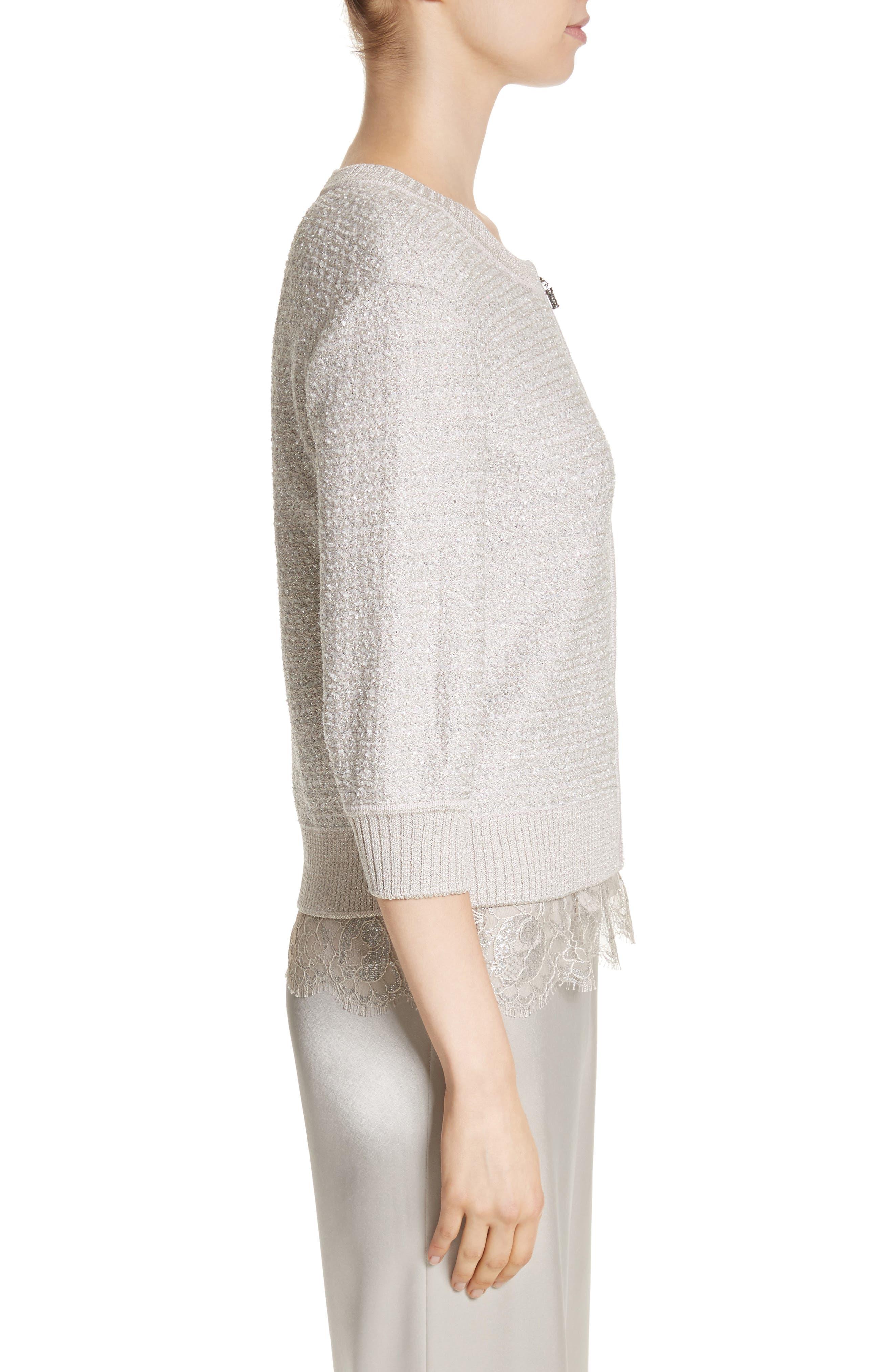 Metallic Eyelash Knit Jacket,                             Alternate thumbnail 3, color,                             Silver Multi