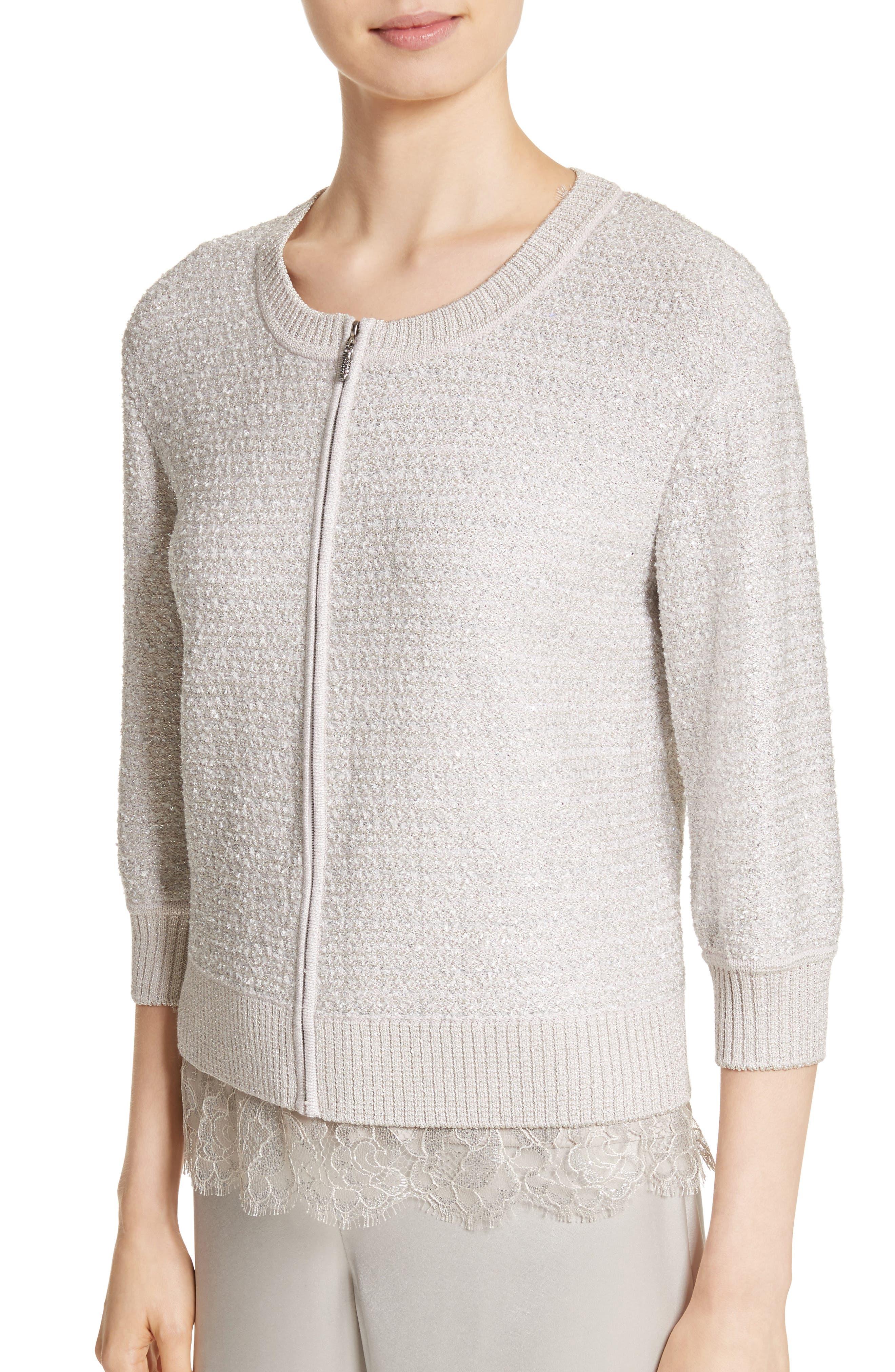 Metallic Eyelash Knit Jacket,                             Alternate thumbnail 4, color,                             Silver Multi