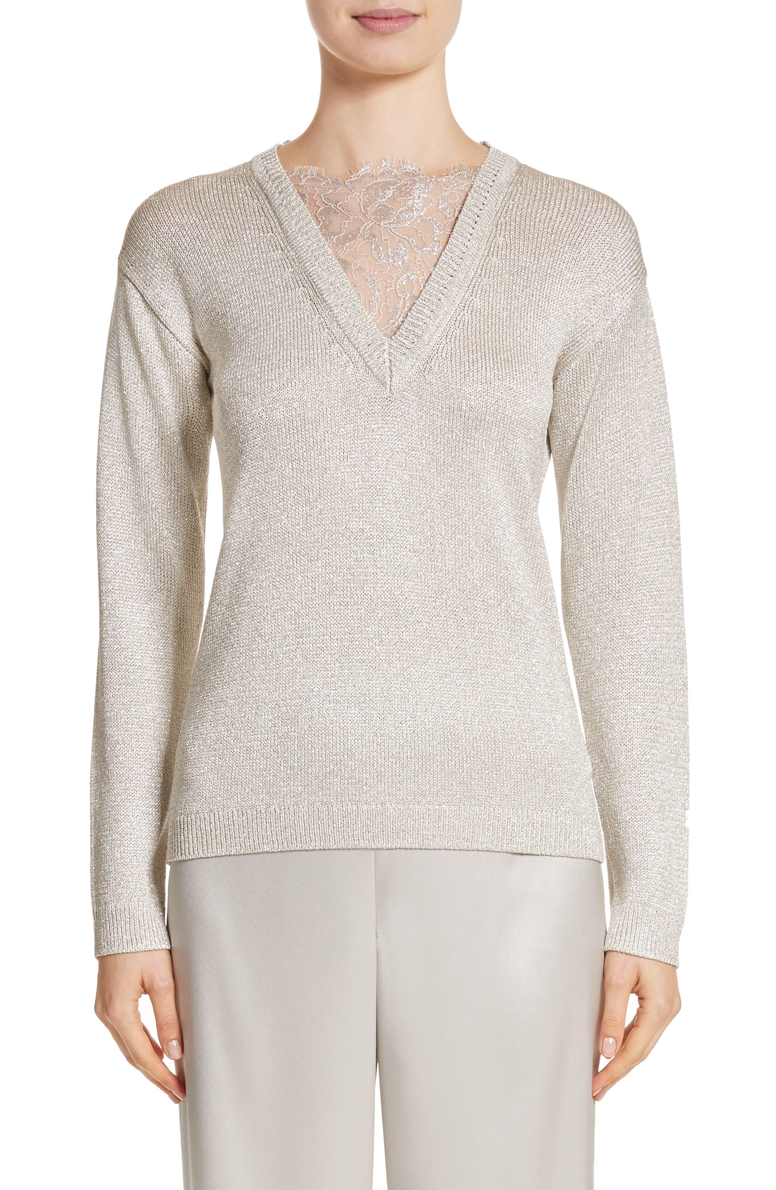 Main Image - St John Collection Metallic Jersey Knit Sweater
