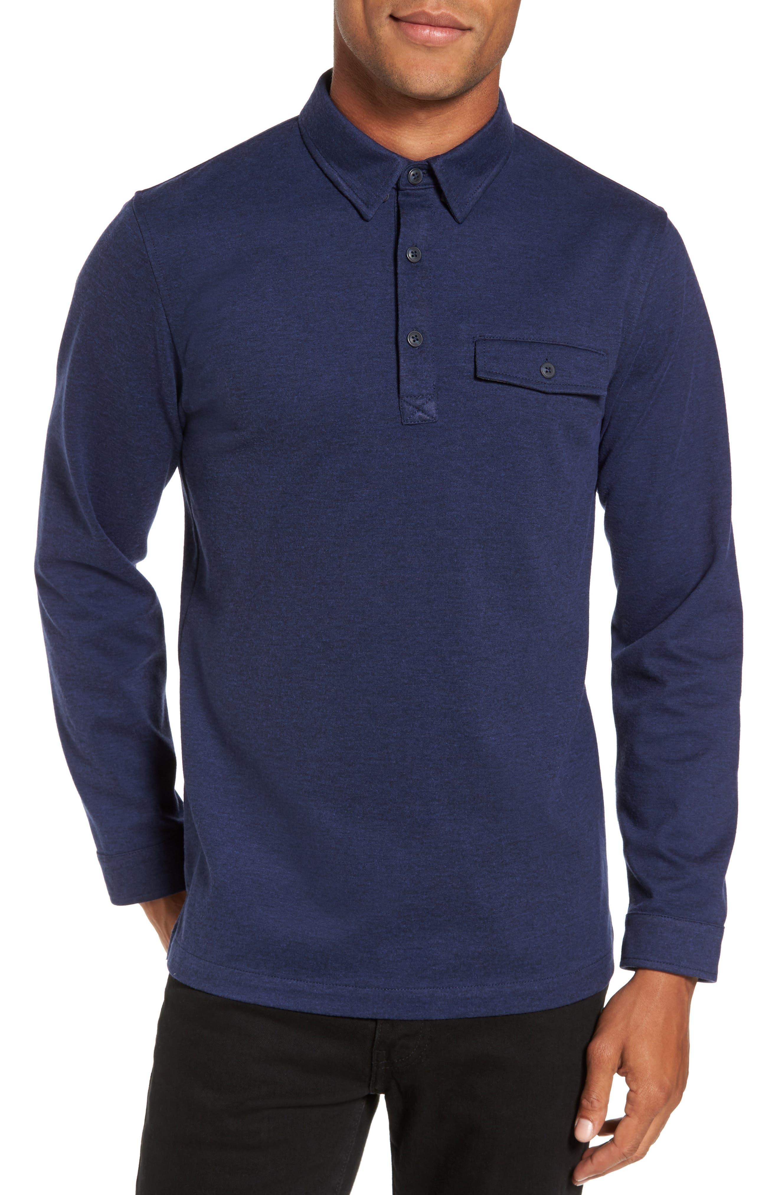 Long Sleeve Polo,                         Main,                         color, Navy