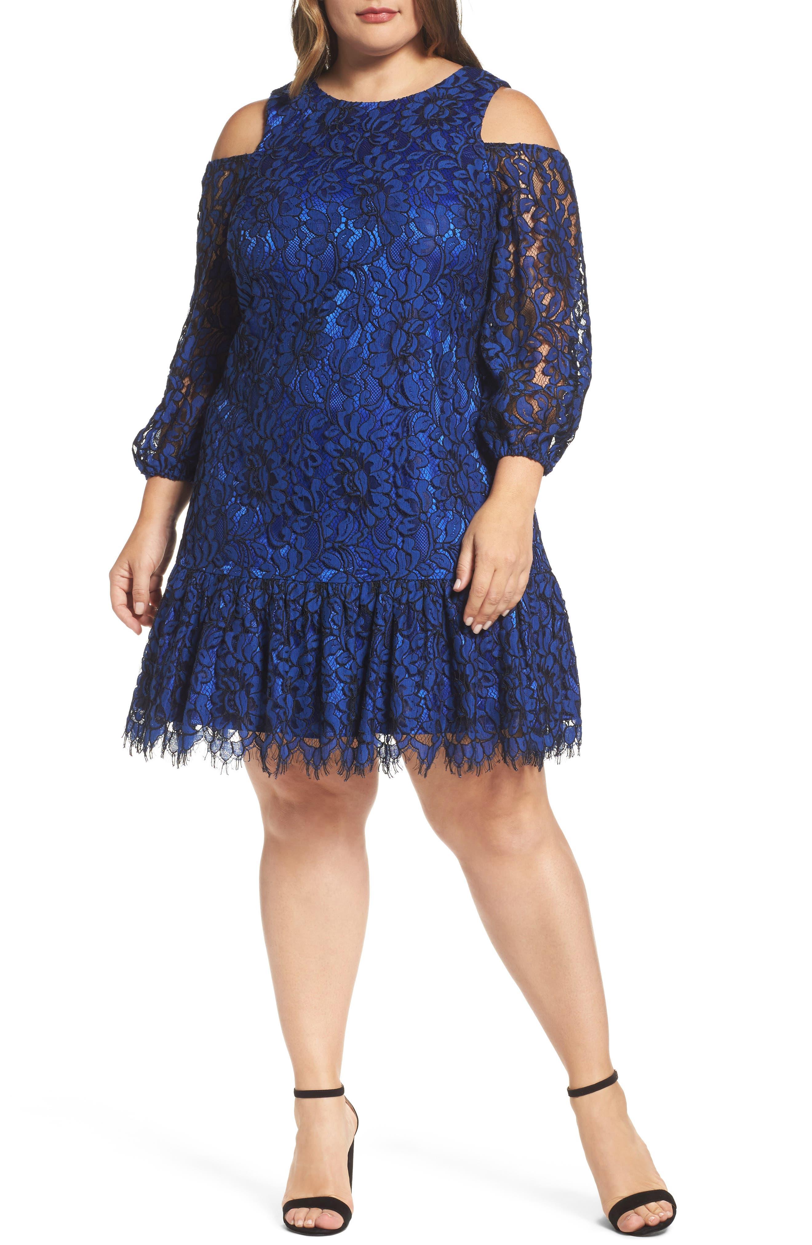 Lace Cold Shoulder Dress,                         Main,                         color, Cobalt/ Black