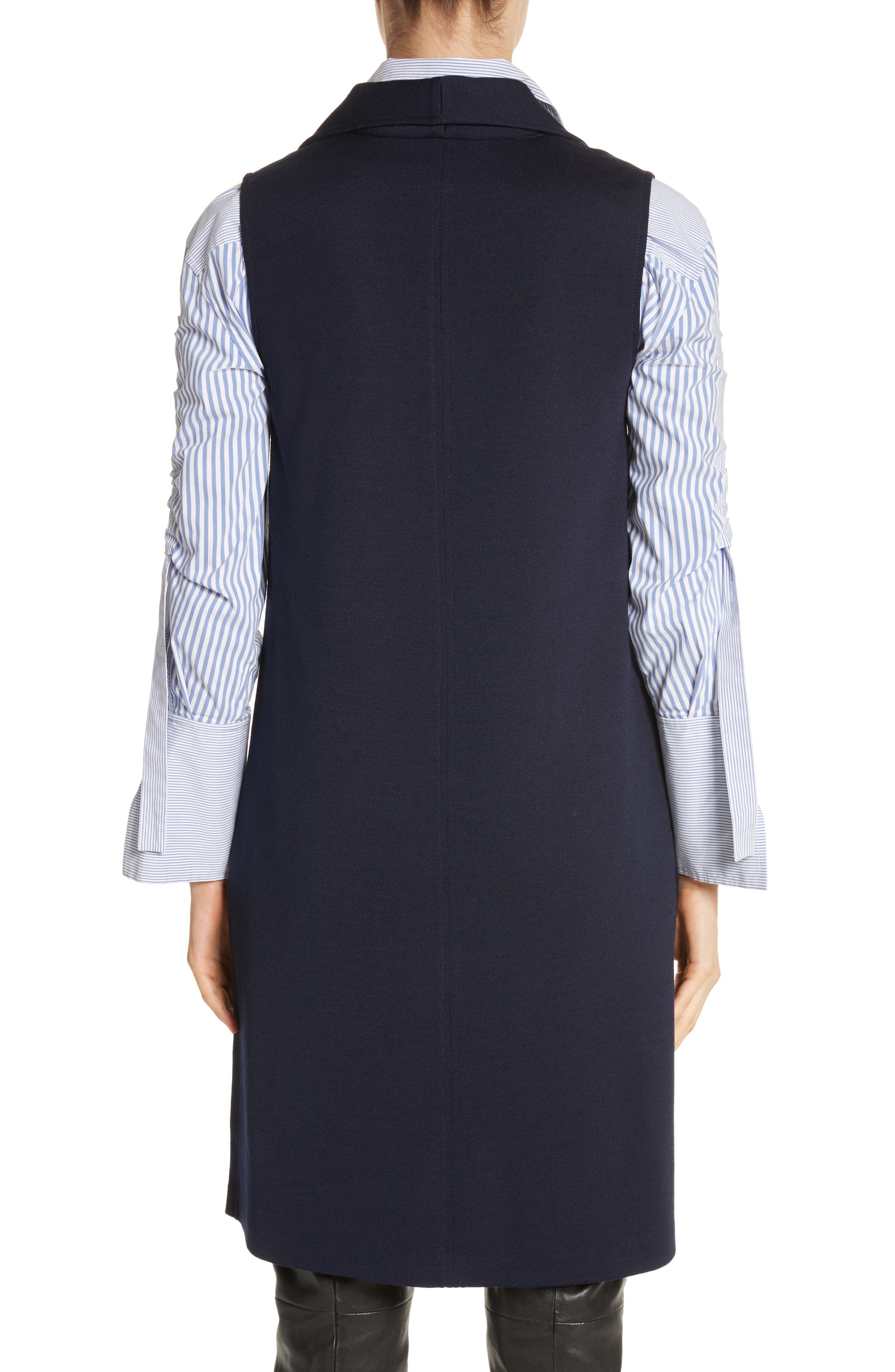 St John Collection Milano Knit Collared Tunic,                             Alternate thumbnail 2, color,                             Navy