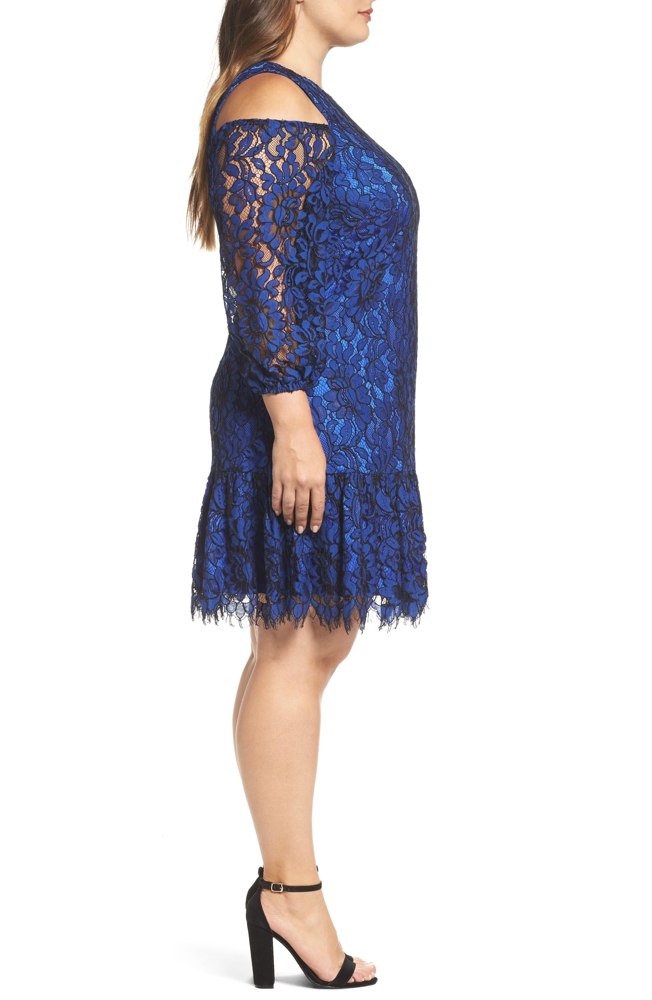 Lace Cold Shoulder Dress,                             Alternate thumbnail 3, color,                             Cobalt/ Black