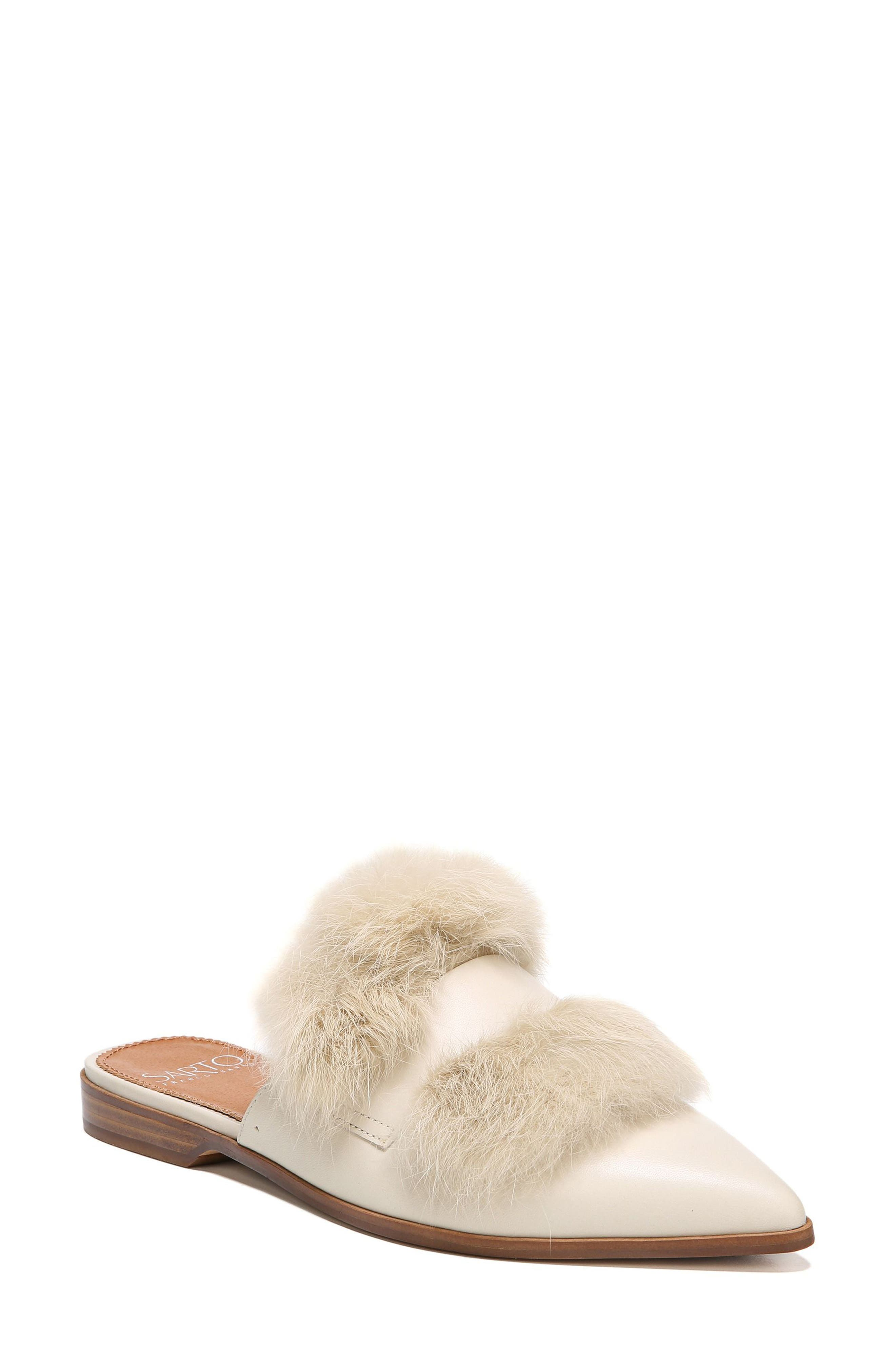Palmer II Genuine Rabbit Fur Slide,                         Main,                         color, Winter White Leather