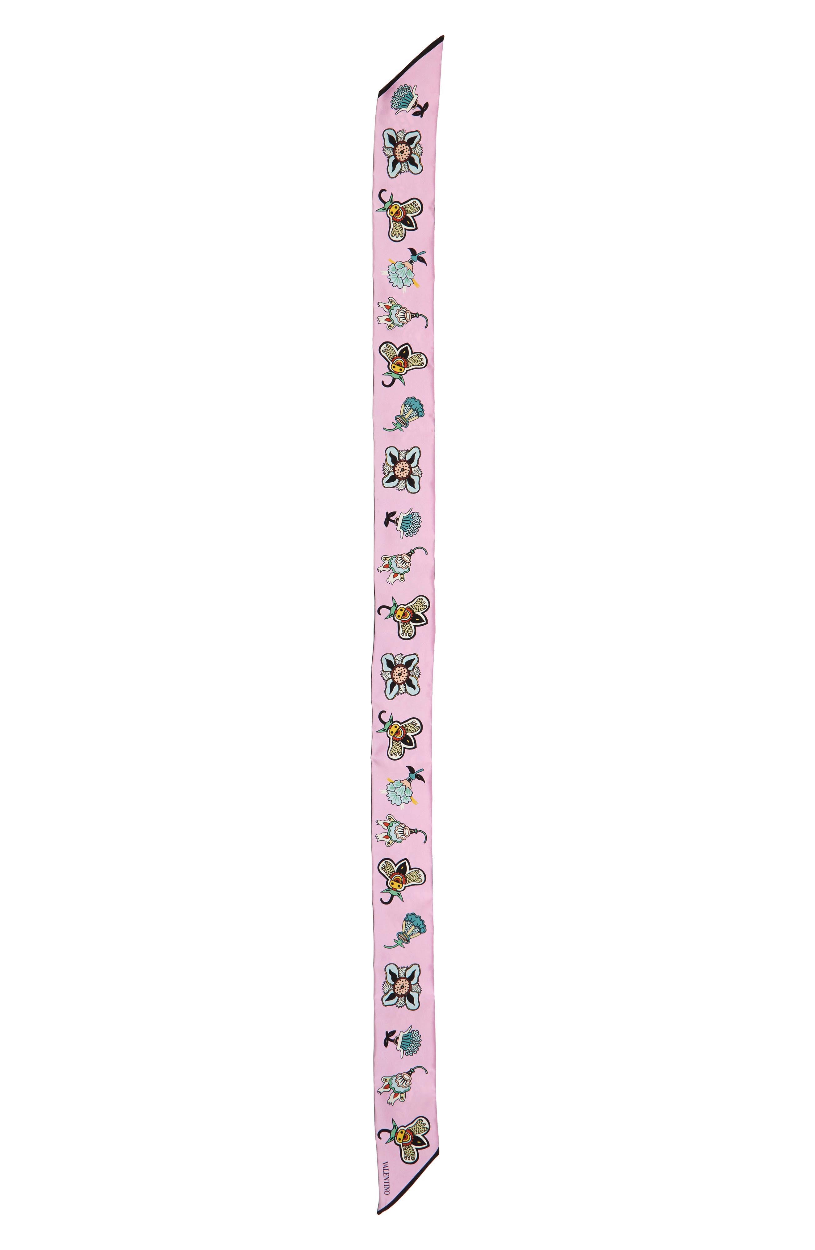 Valentino Pop Flower Skinny Silk Scarf