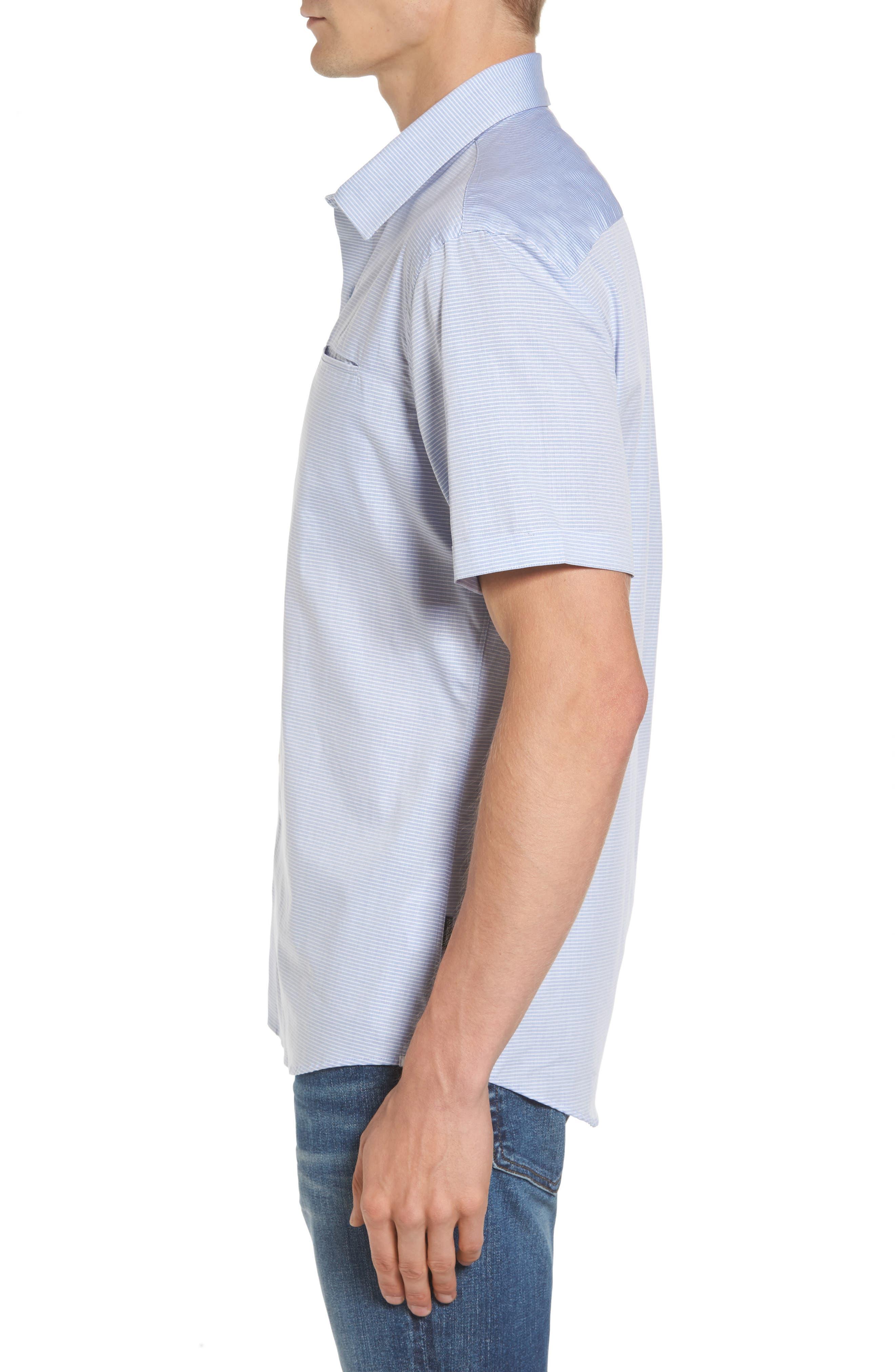Stripe Woven Shirt,                             Alternate thumbnail 3, color,                             Light Blue